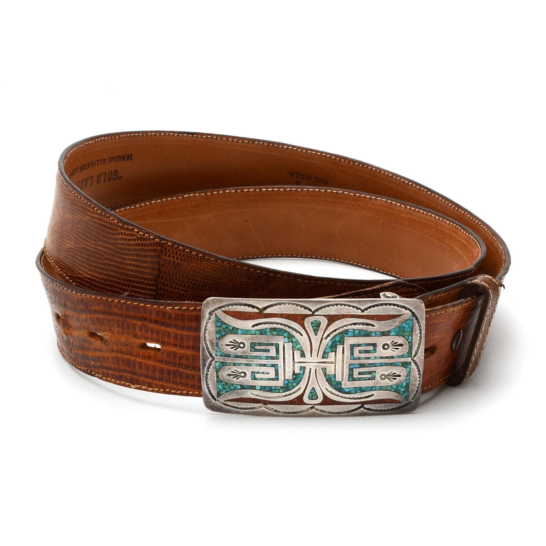 Native American Signed Sterling Silver Dyed Chip Inlaid Buckle on Lizard Belt