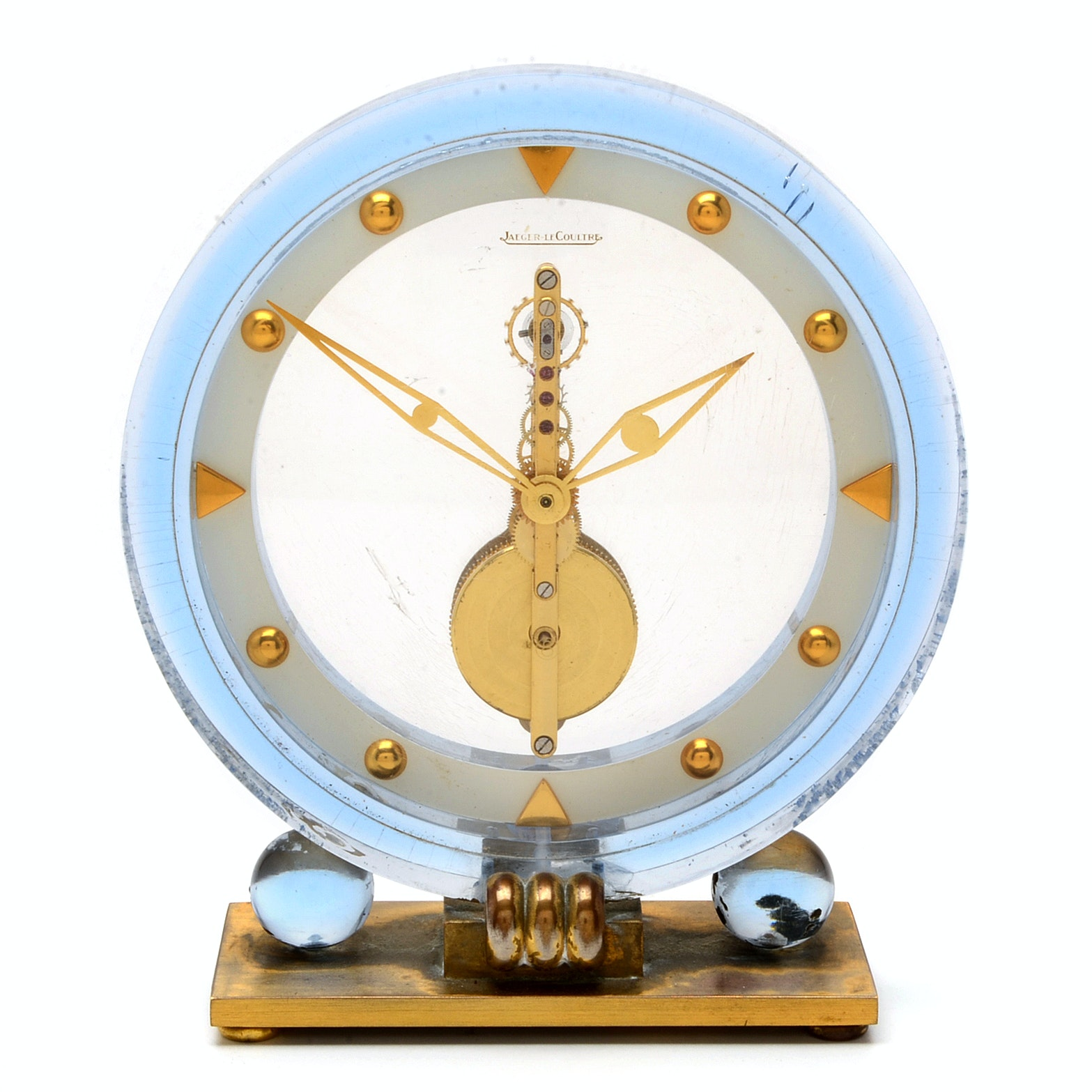 Vintage Jaeger-LeCoultre Round Acrylic Desk Clock