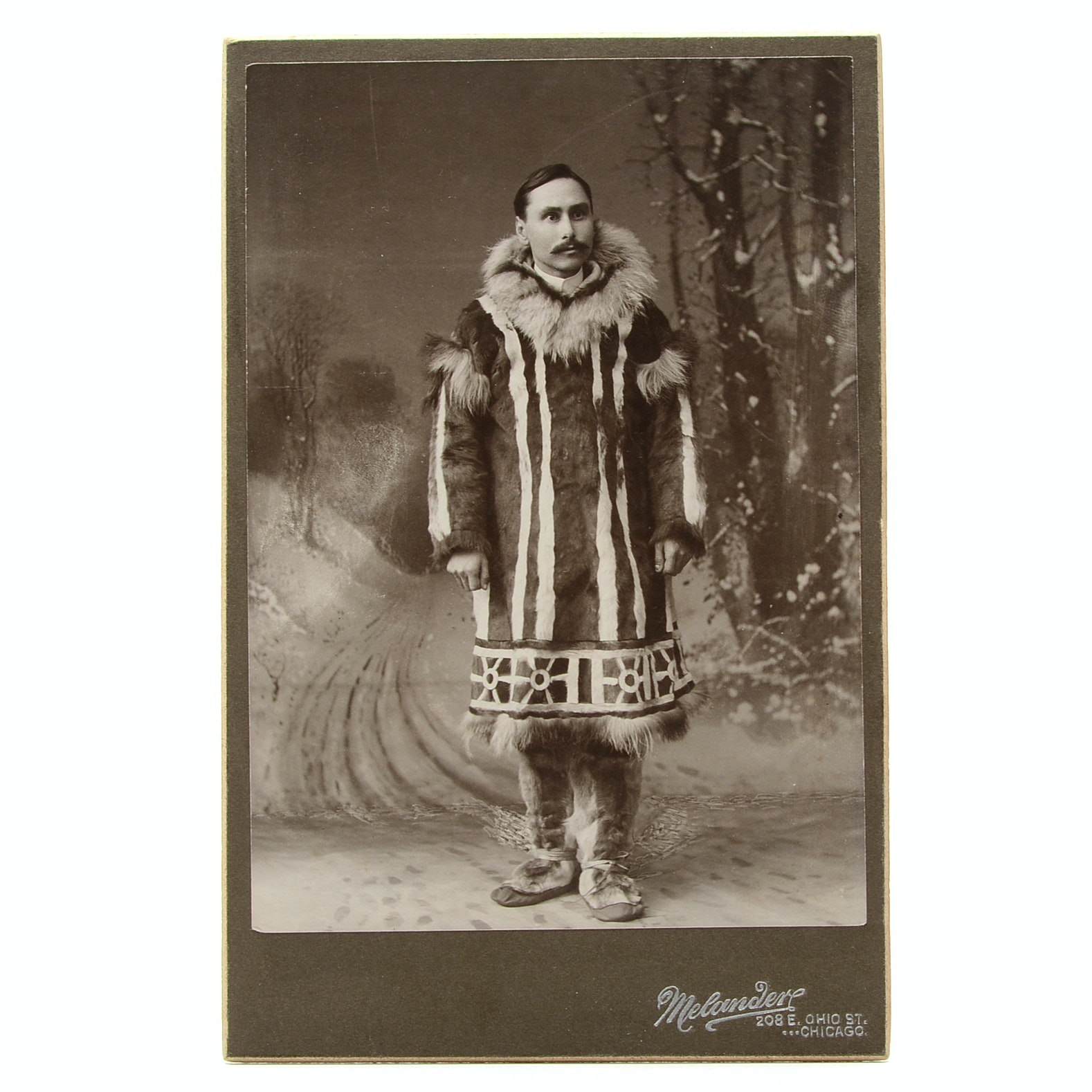 Antique Black and White Cabinet Photo Portrait of Alaskan Missionary