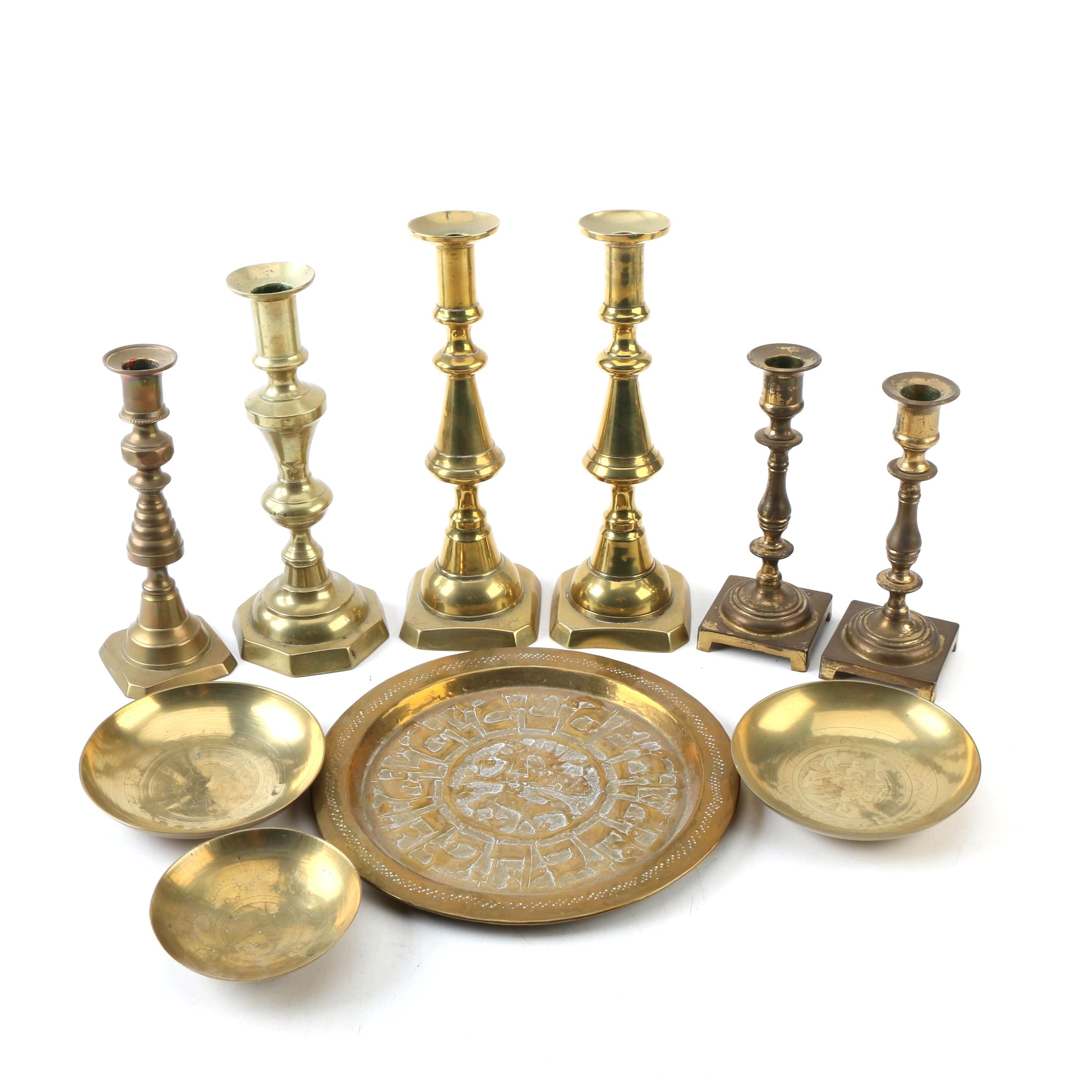 Brass Candle Holders and Plates including English Push-Up Candlesticks