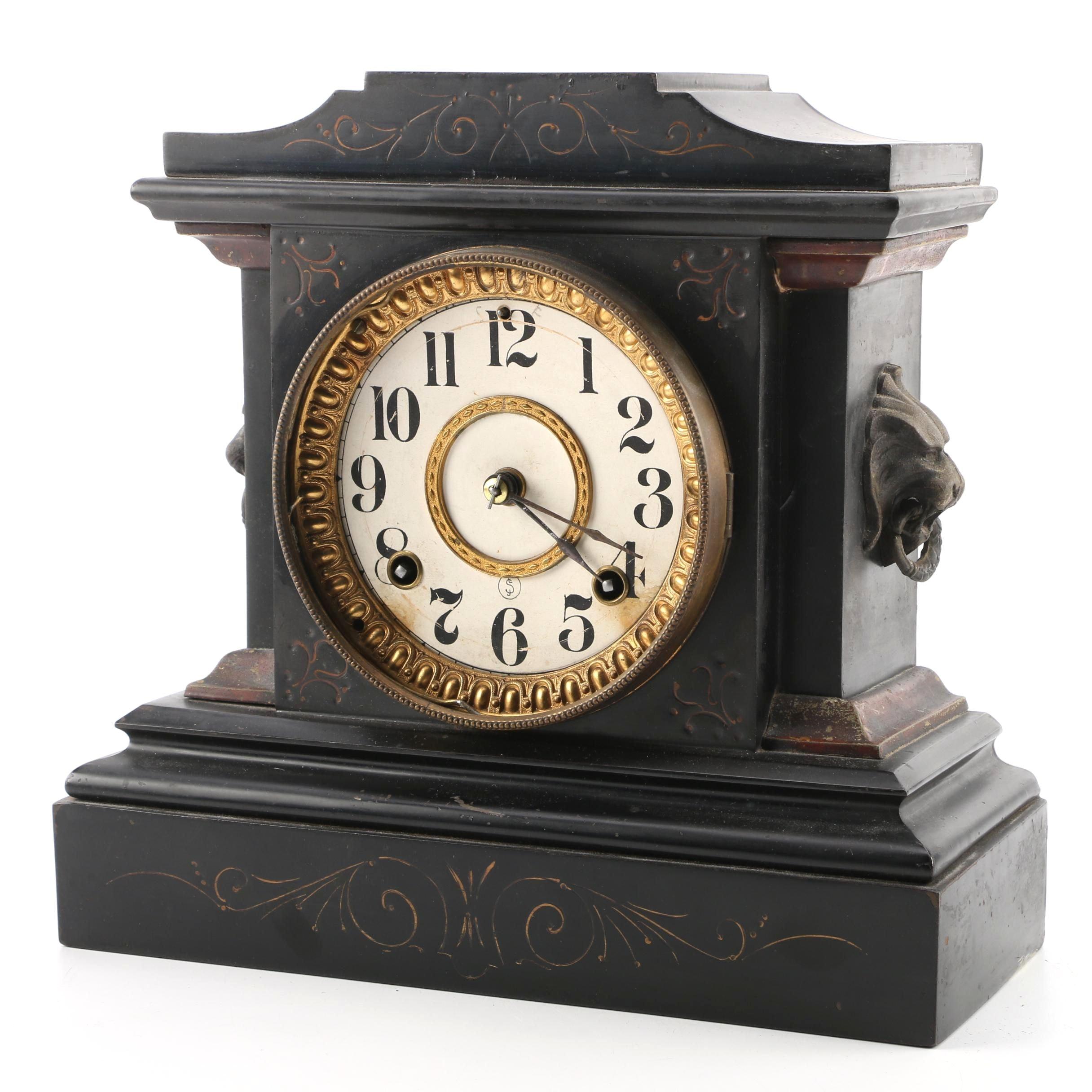 Vintage Ansonia Clock Co. Pendulum Mantel Clock