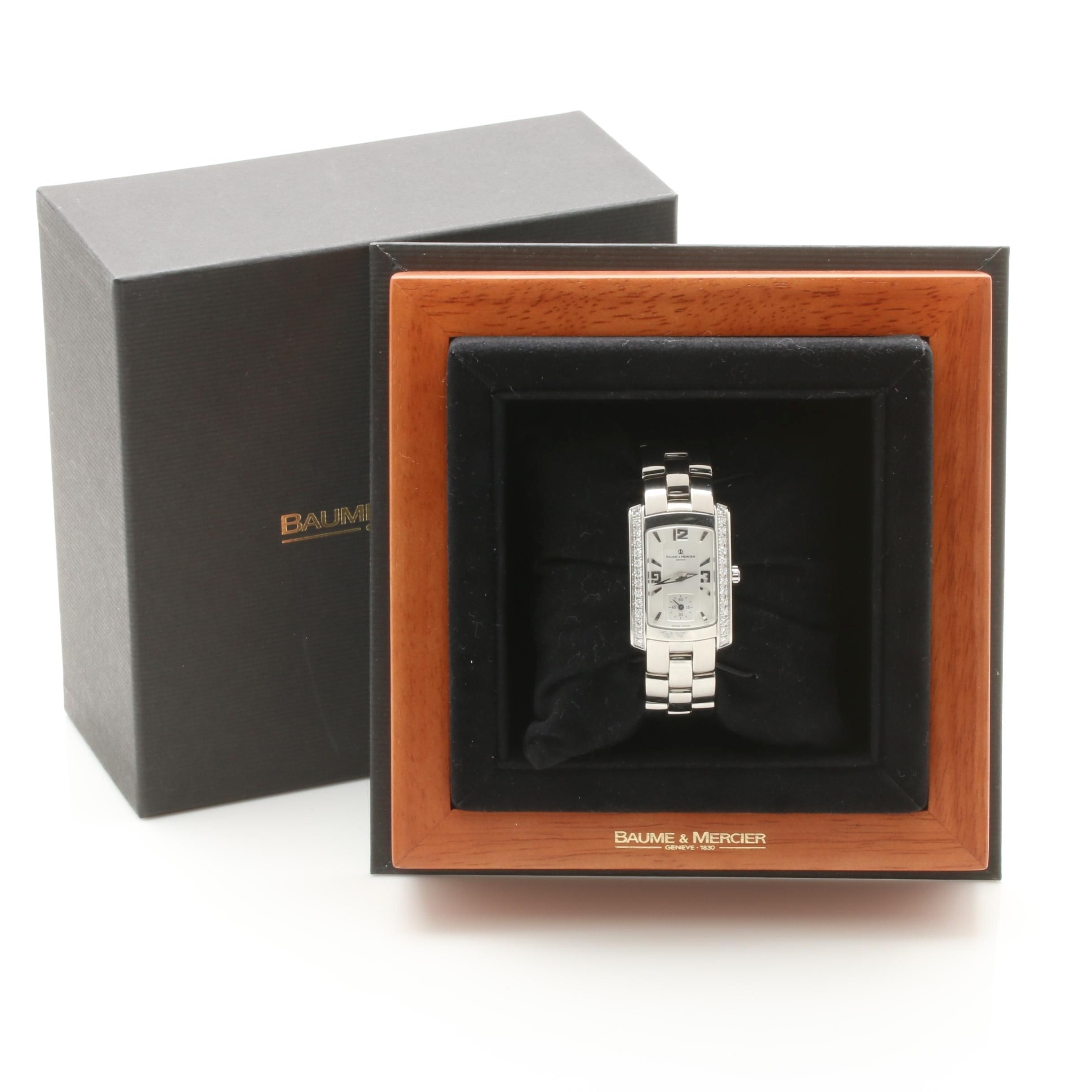 Baume & Mercier Stainless Steel and Diamond Wristwatch