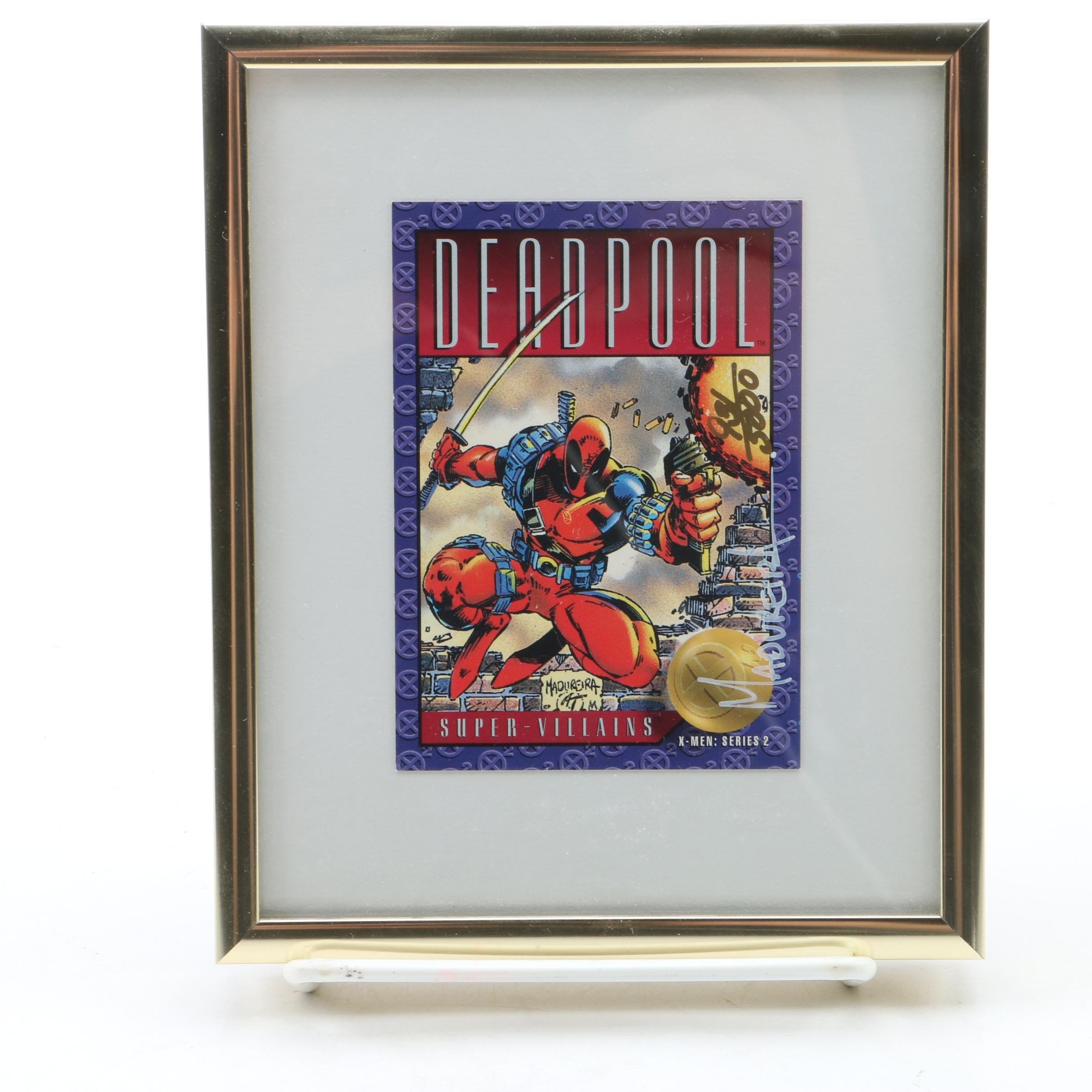 Limited Edition Framed 1993 Deadpool Trading Card Signed by Artist