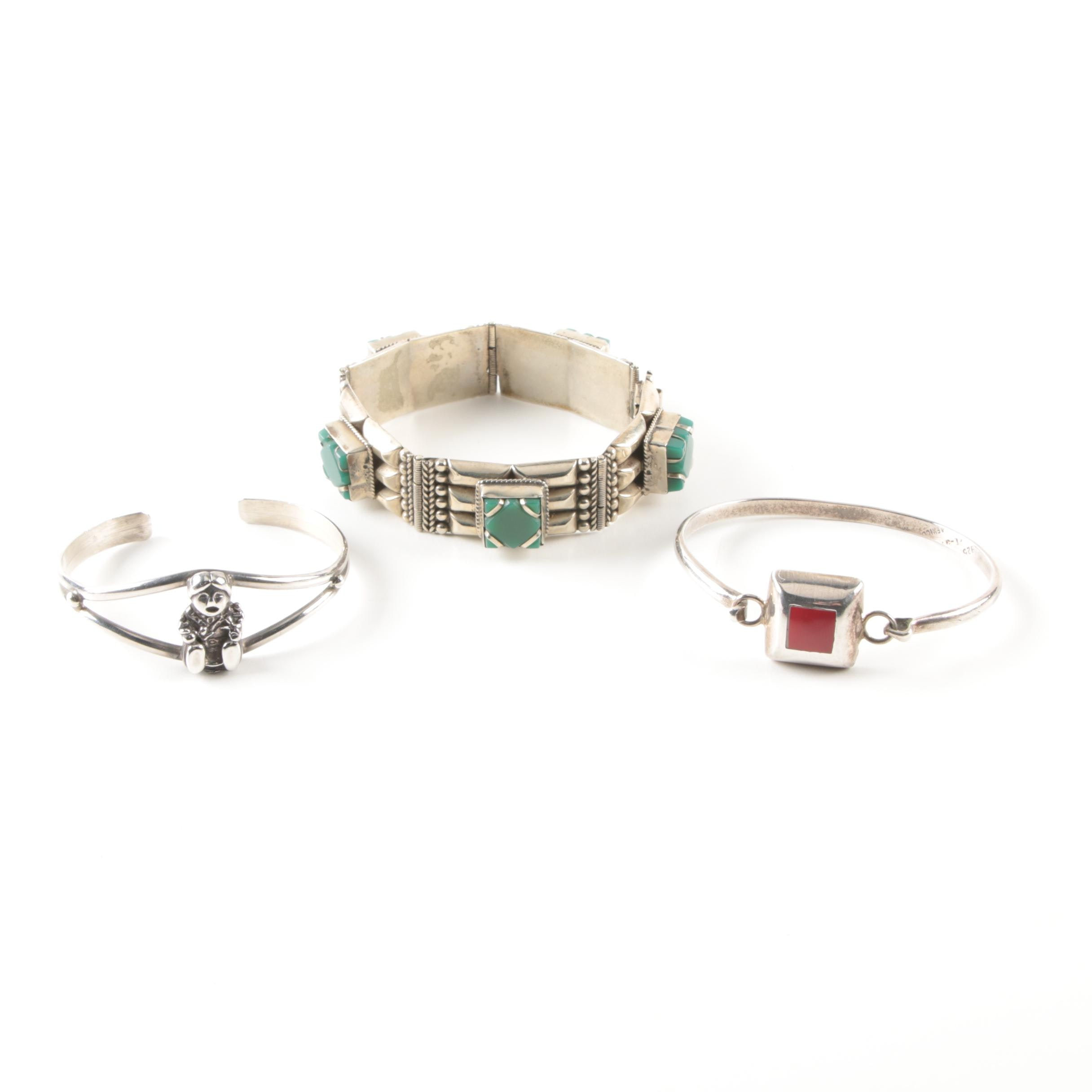 Sterling Silver and Costume Bracelets Including Imitation Jasper and Glass