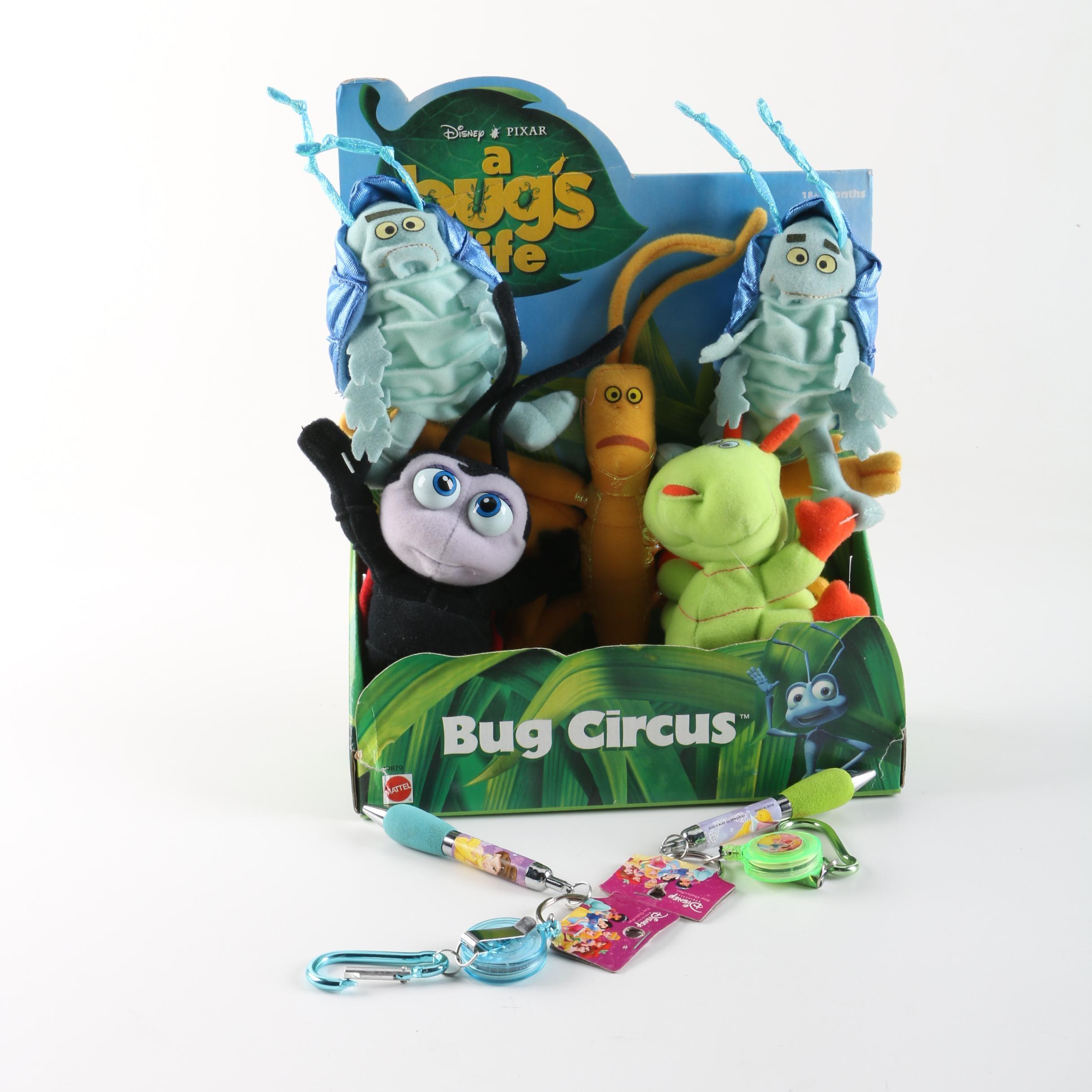 "Disney-Pixar ""A Bug's Life"" Play Set and Disney Princess Key Chains"