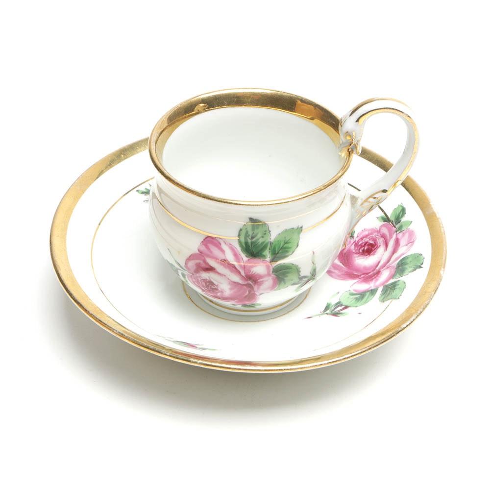 Vintage Meissen Porcelain Cup and Saucer