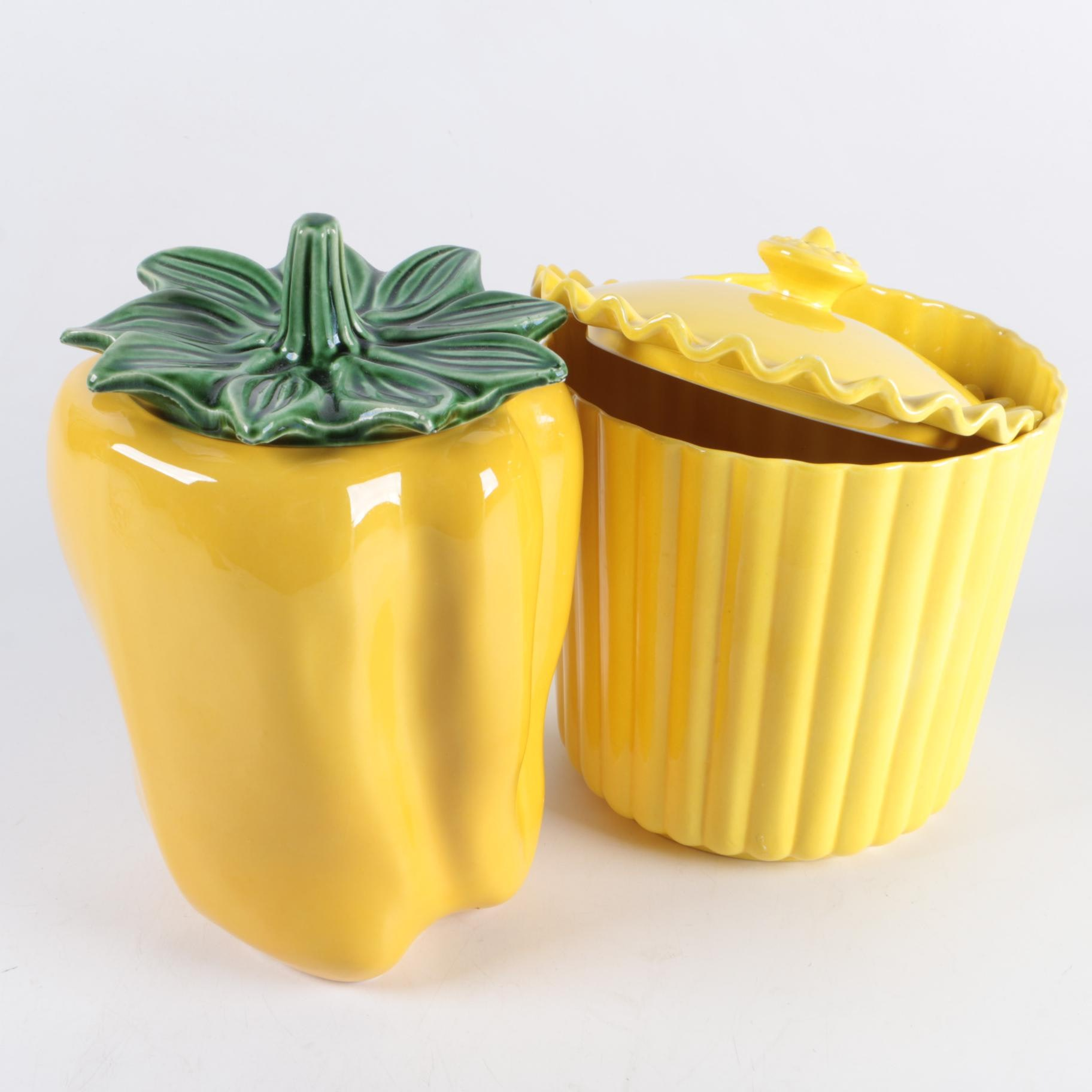 Yellow Ceramic Containers including McCoy