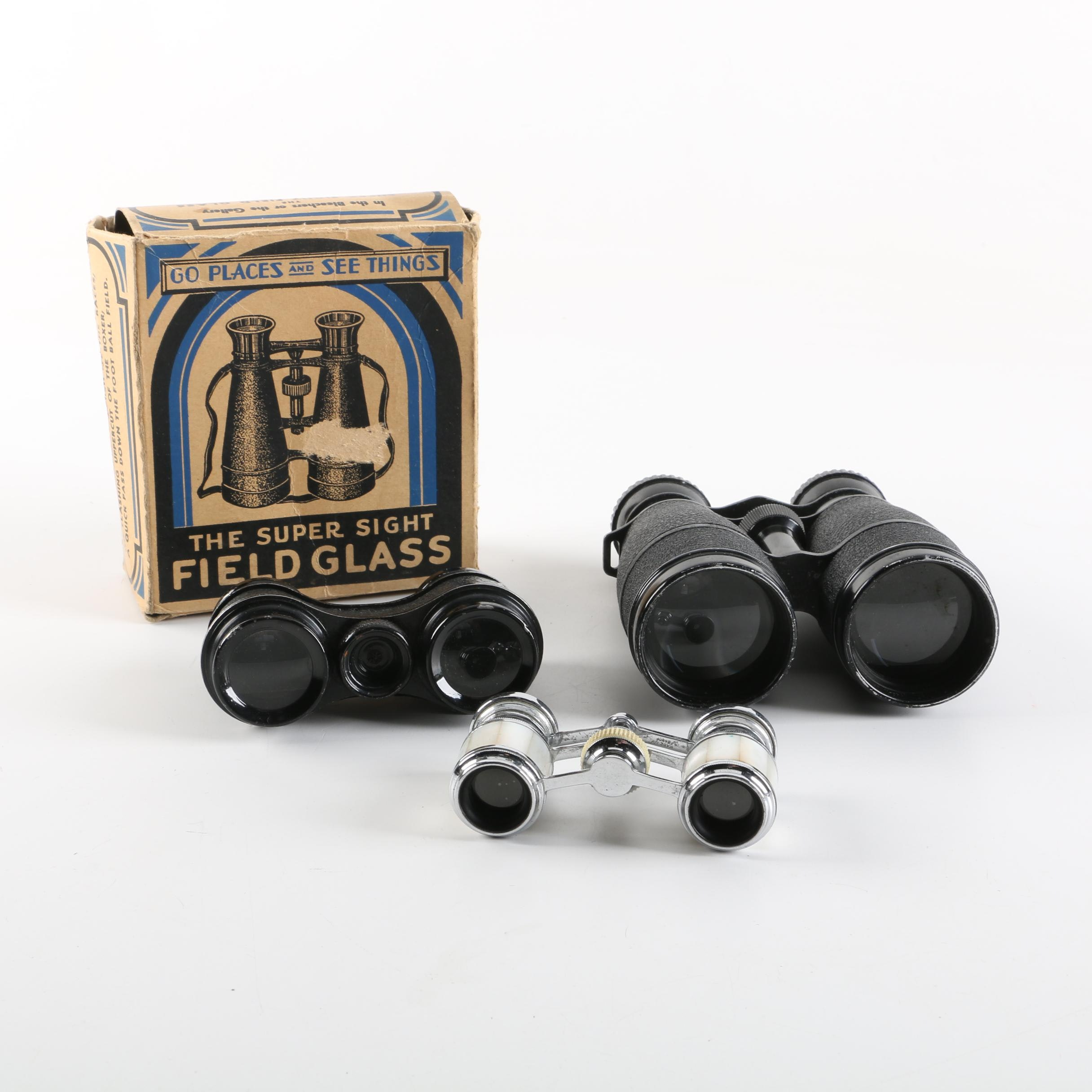 Vintage Atco Mother of Pearl Opera Glasses with Binoculars