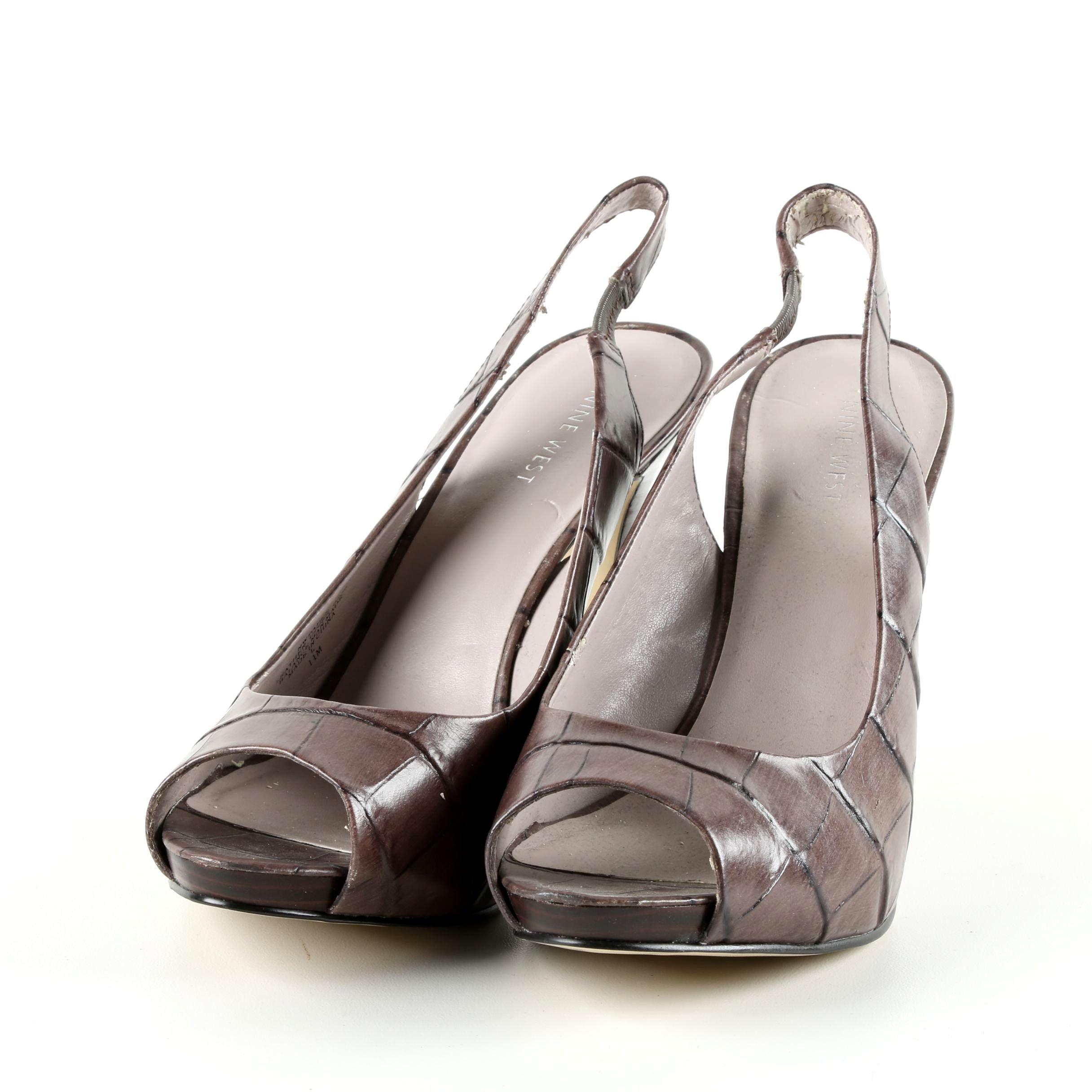 Nine West Taupe Embossed Leather Peep-Toe Slingback Pumps