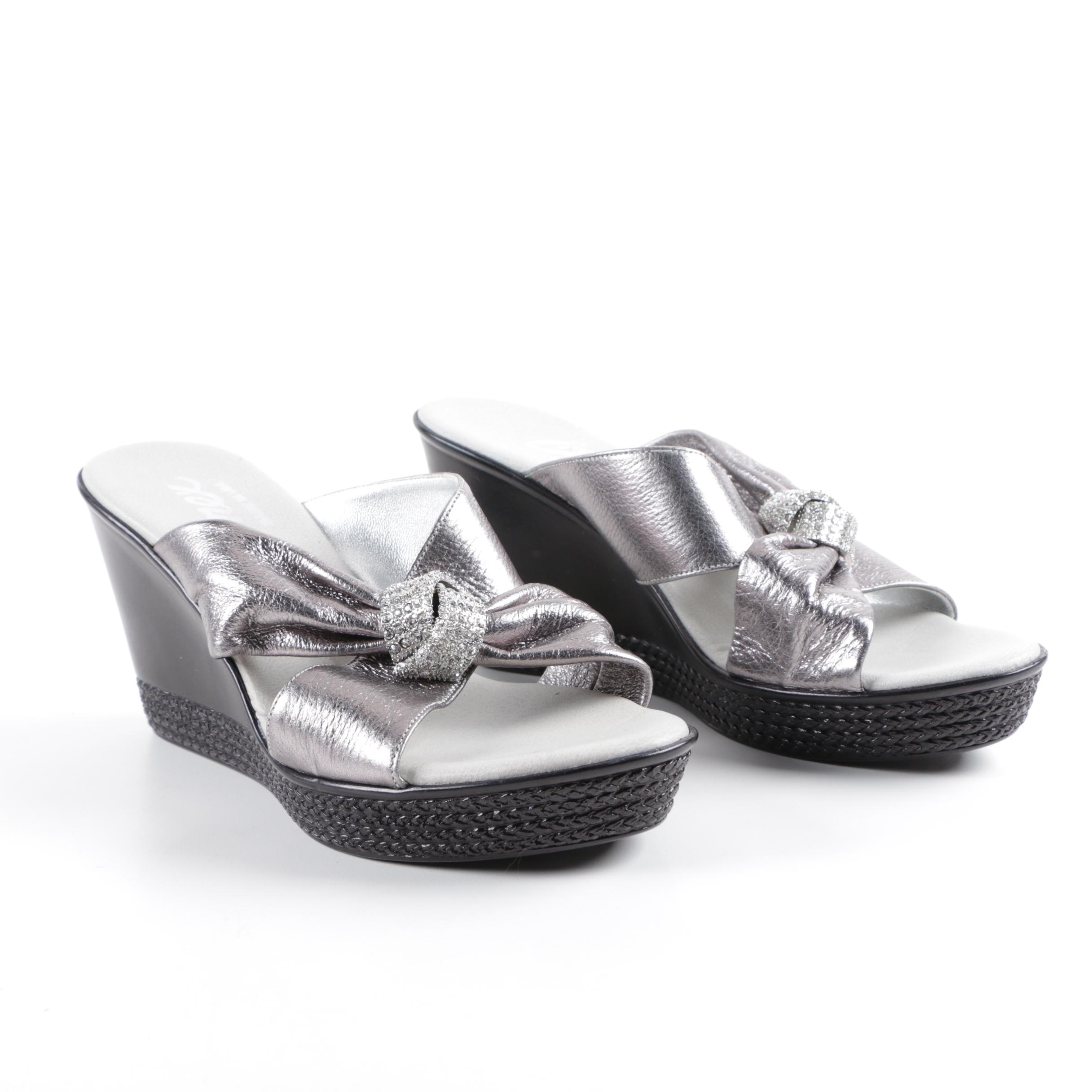 Onex Metallic Silver Tone Faux Leather Wedge Sandals