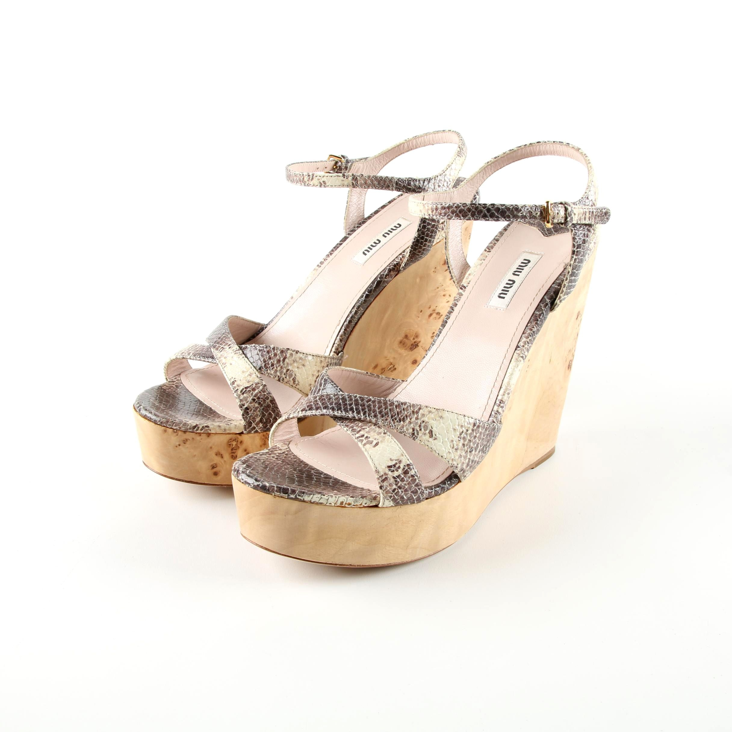 Miu Miu Python and Burl Wood Wedge Sandals