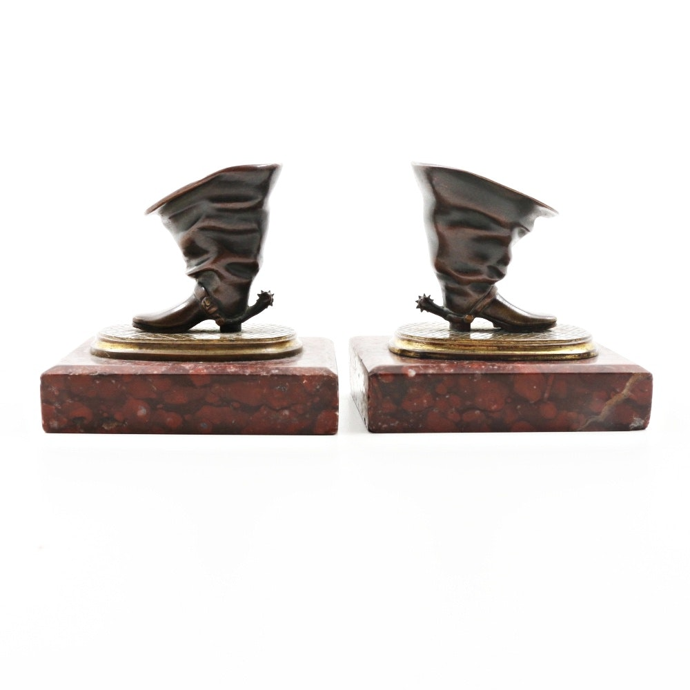 Antique Charles X Gilt-Metal Quill Holders on Red Marble Plinths
