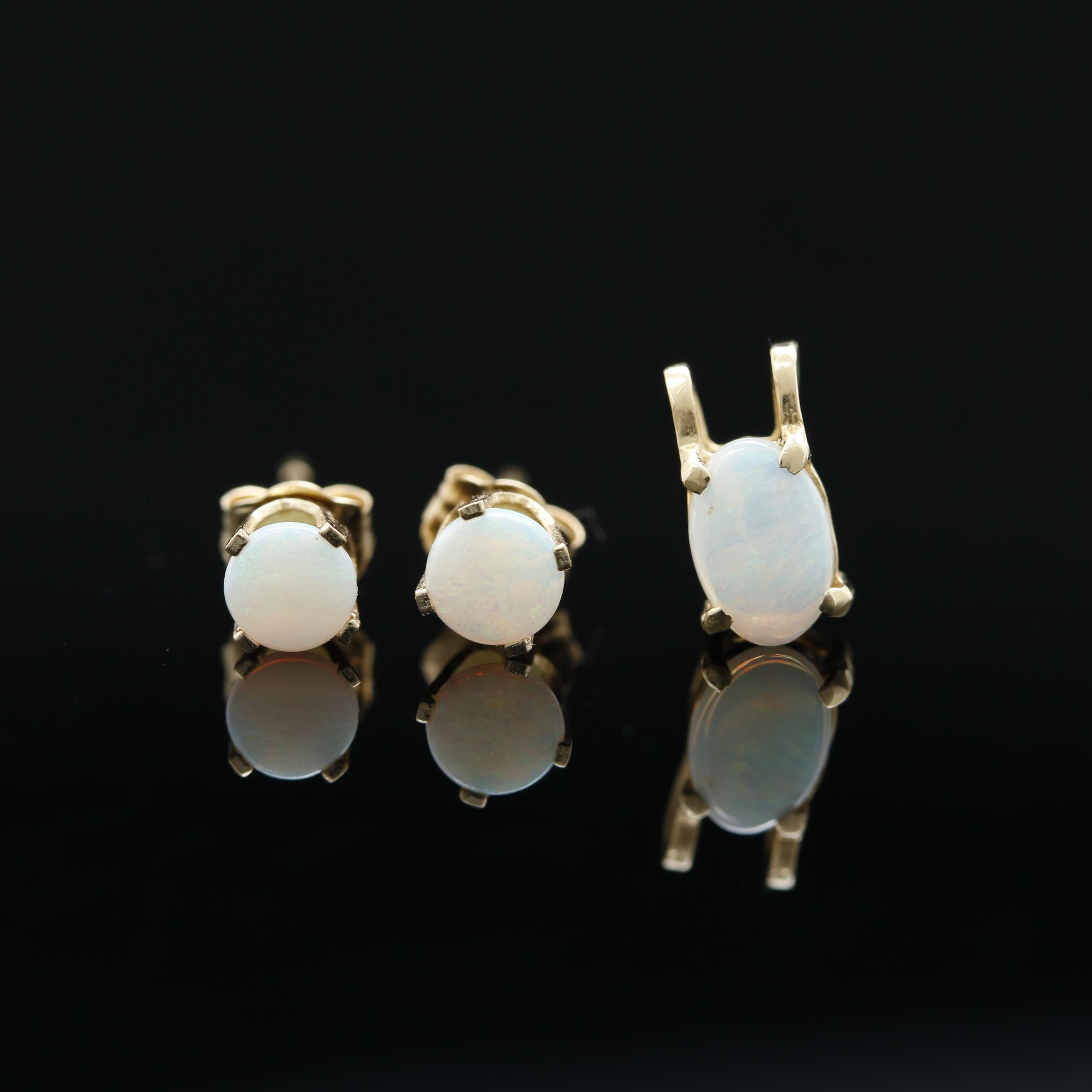 14K Yellow Gold Opal Demi Parure