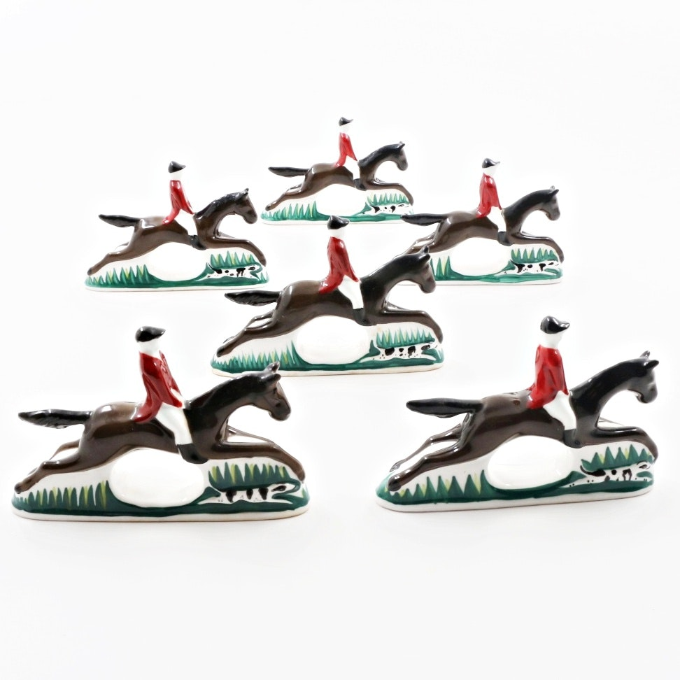 "Set of Six ""PIA"" Hand Painted Bone China Horse, Hound and Rider Napkin Rings"