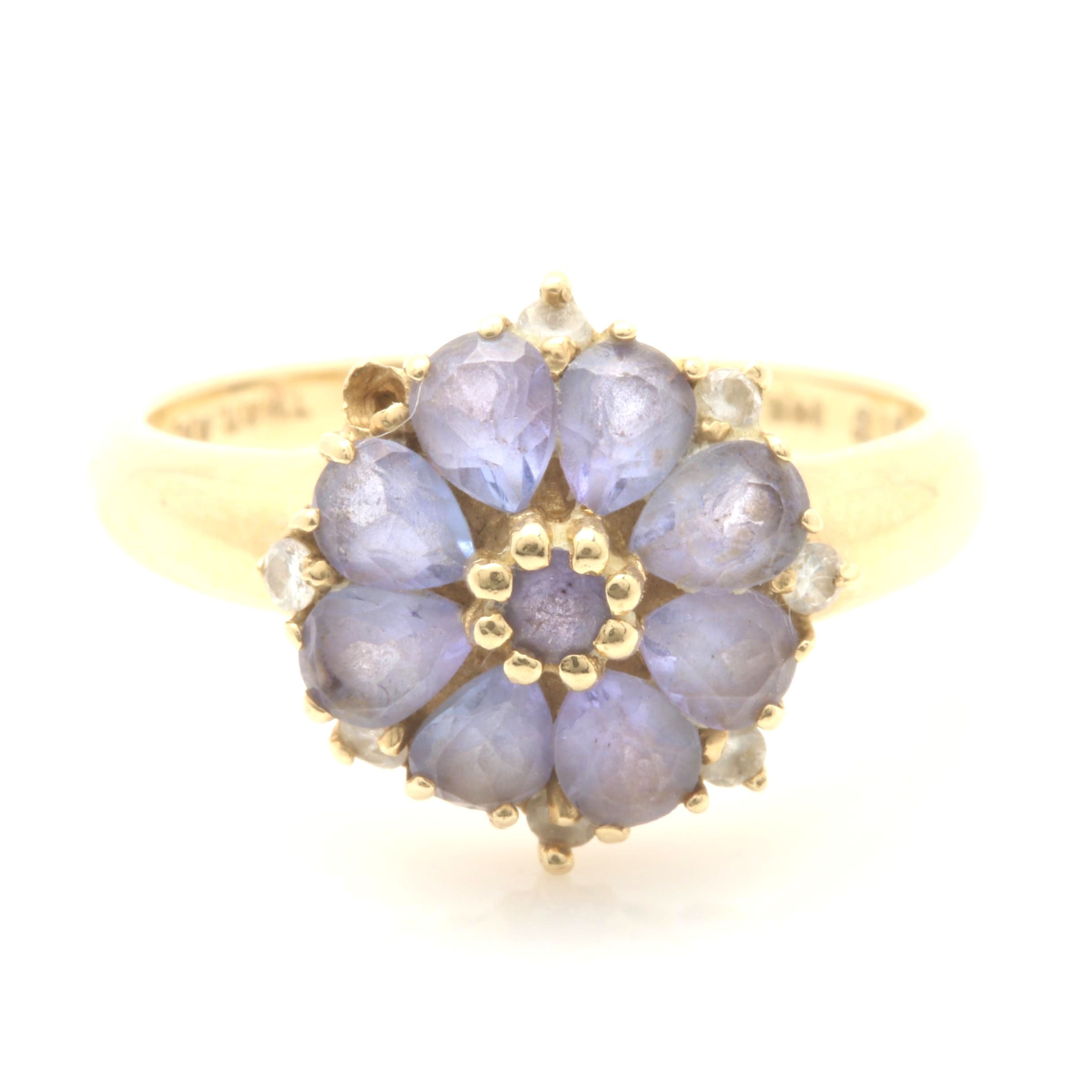 14K Yellow Gold Tanzanite and Diamond Flower Ring