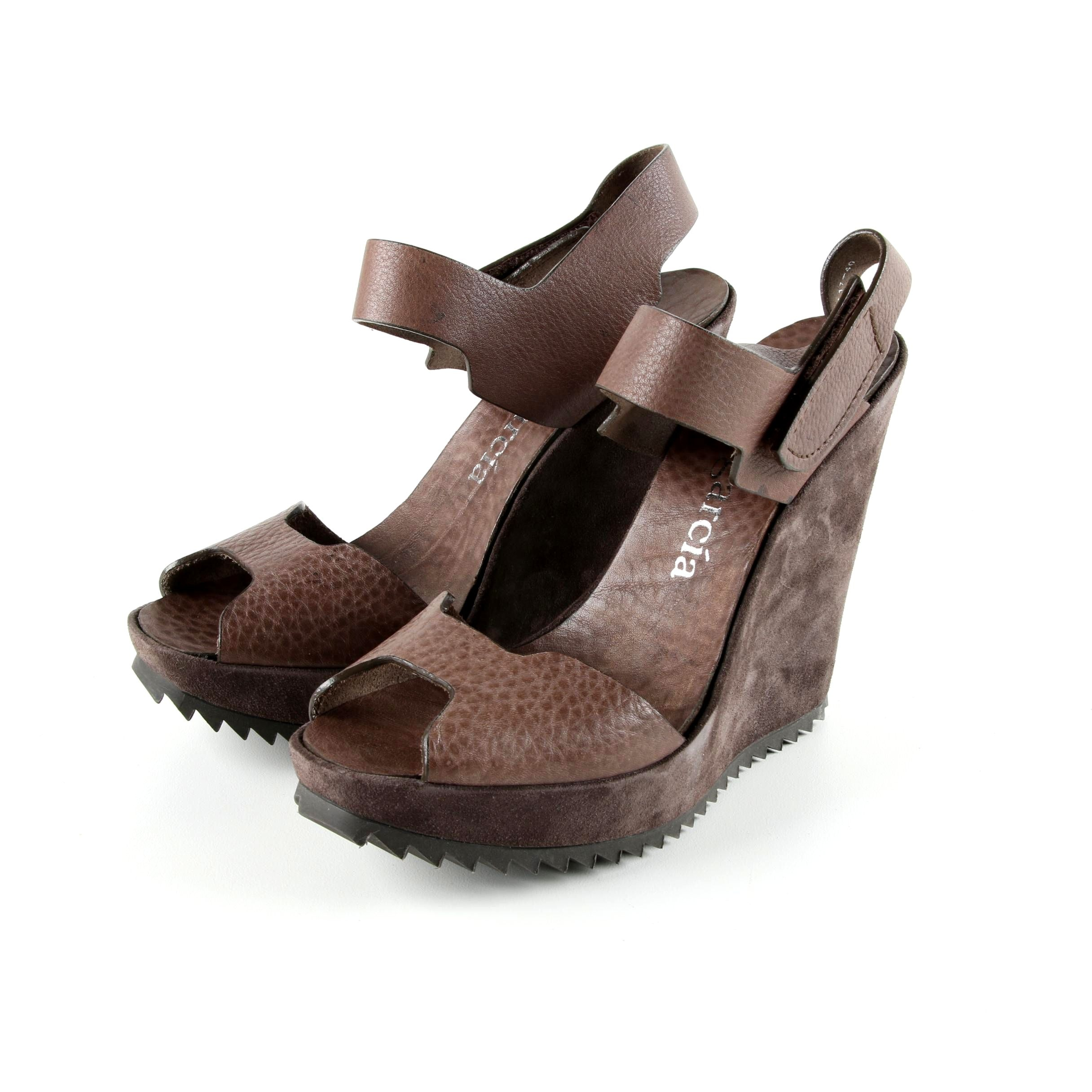 Pedro Garcia Vevay Brown Suede and Pebbled Leather Velcro Wedge Sandals