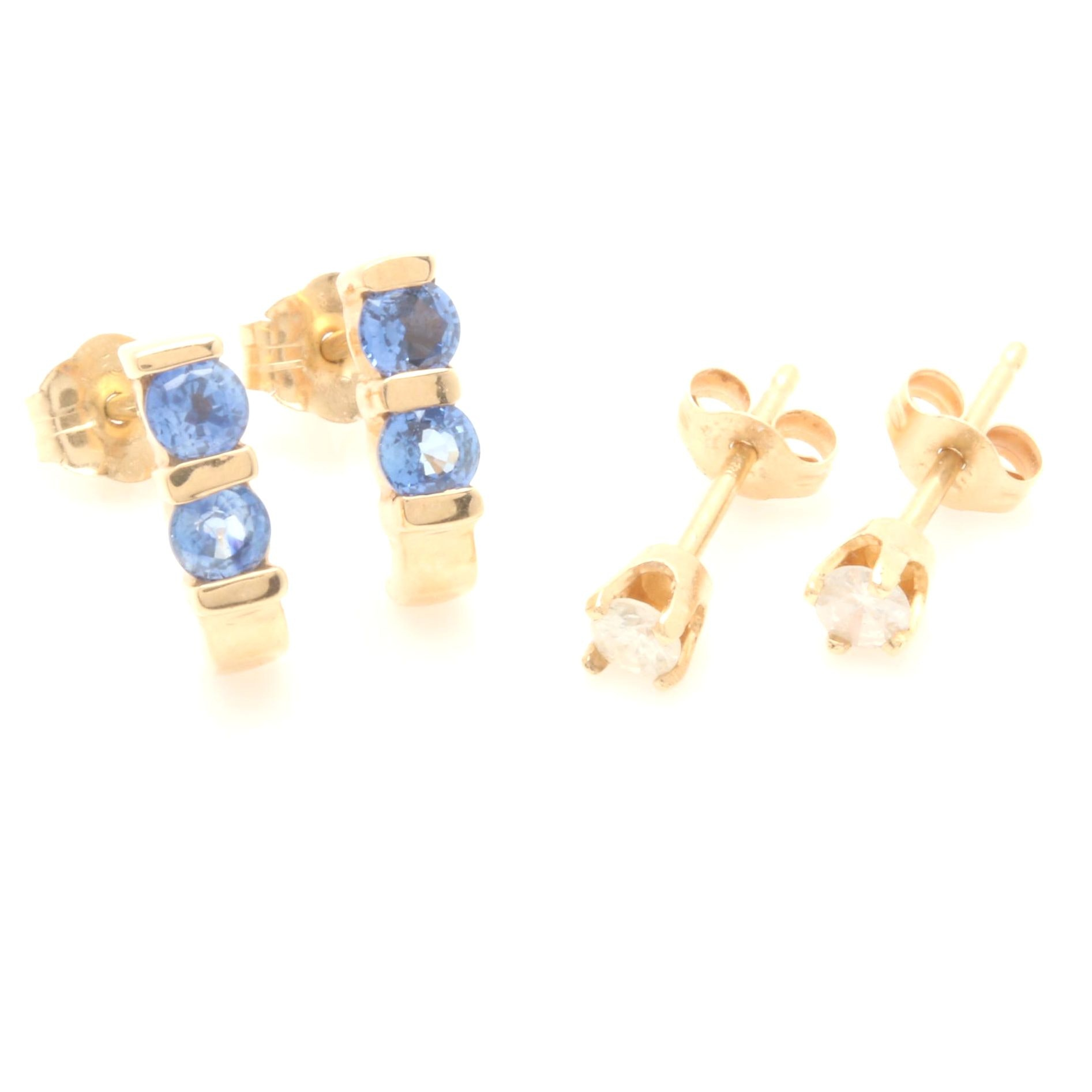 14K Yellow Gold Earrings Including Blue Sapphires and Diamonds