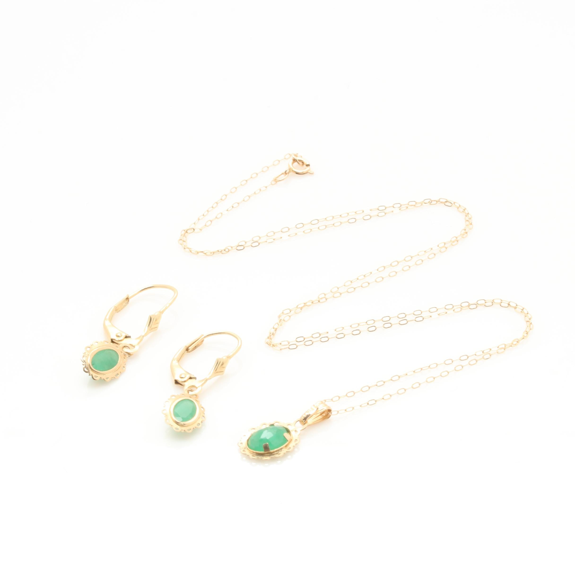 14K Yellow Gold Emerald Necklace and Earring Set