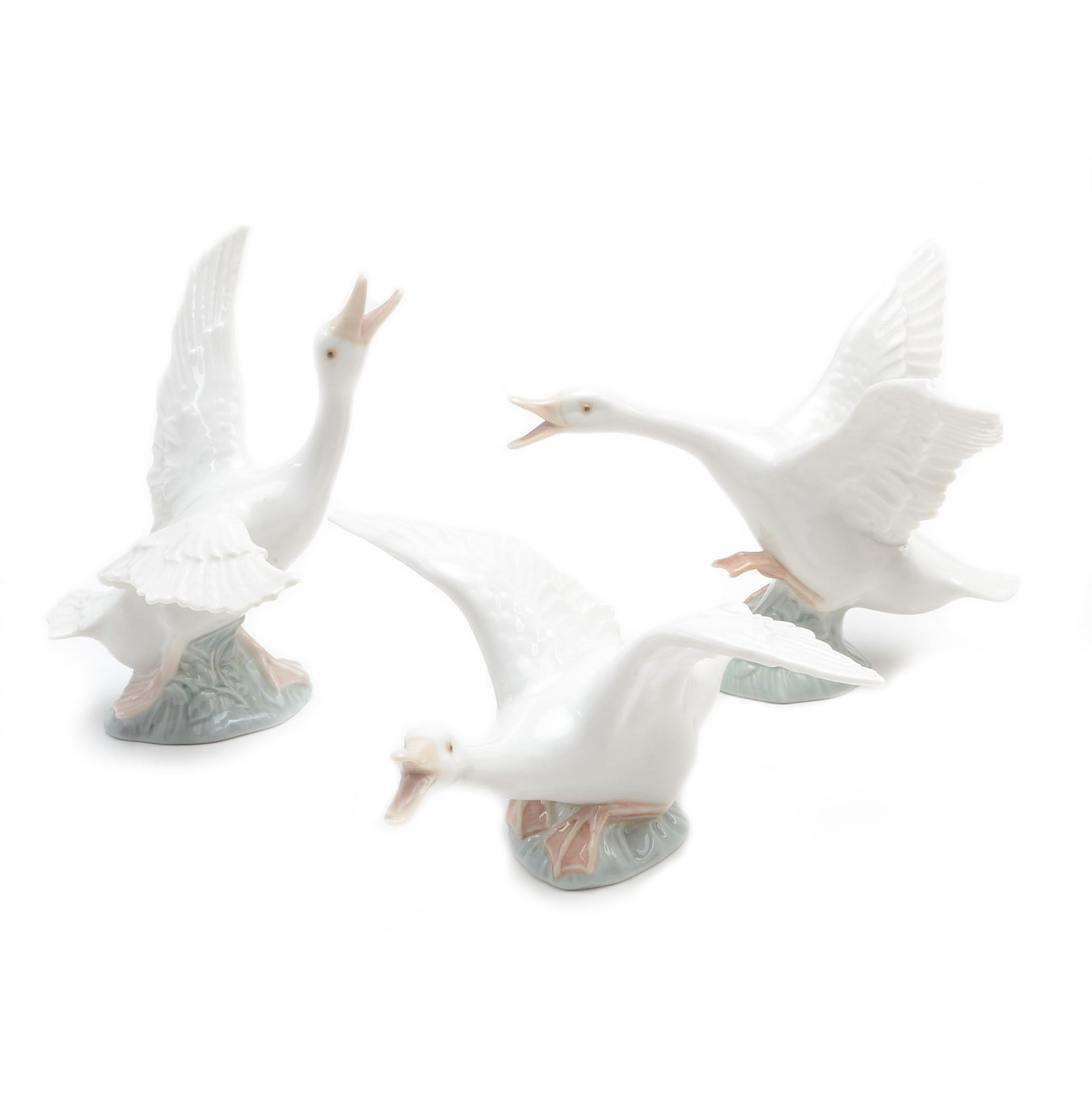 Group of Lladro Geese Figurines