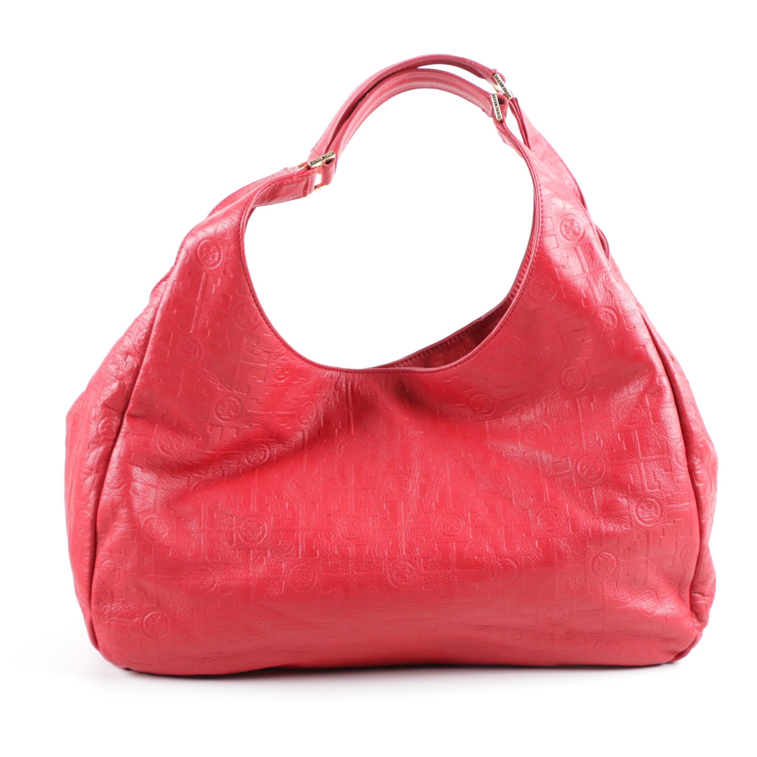 Tory Burch Monogrammed Red Leather Handbag