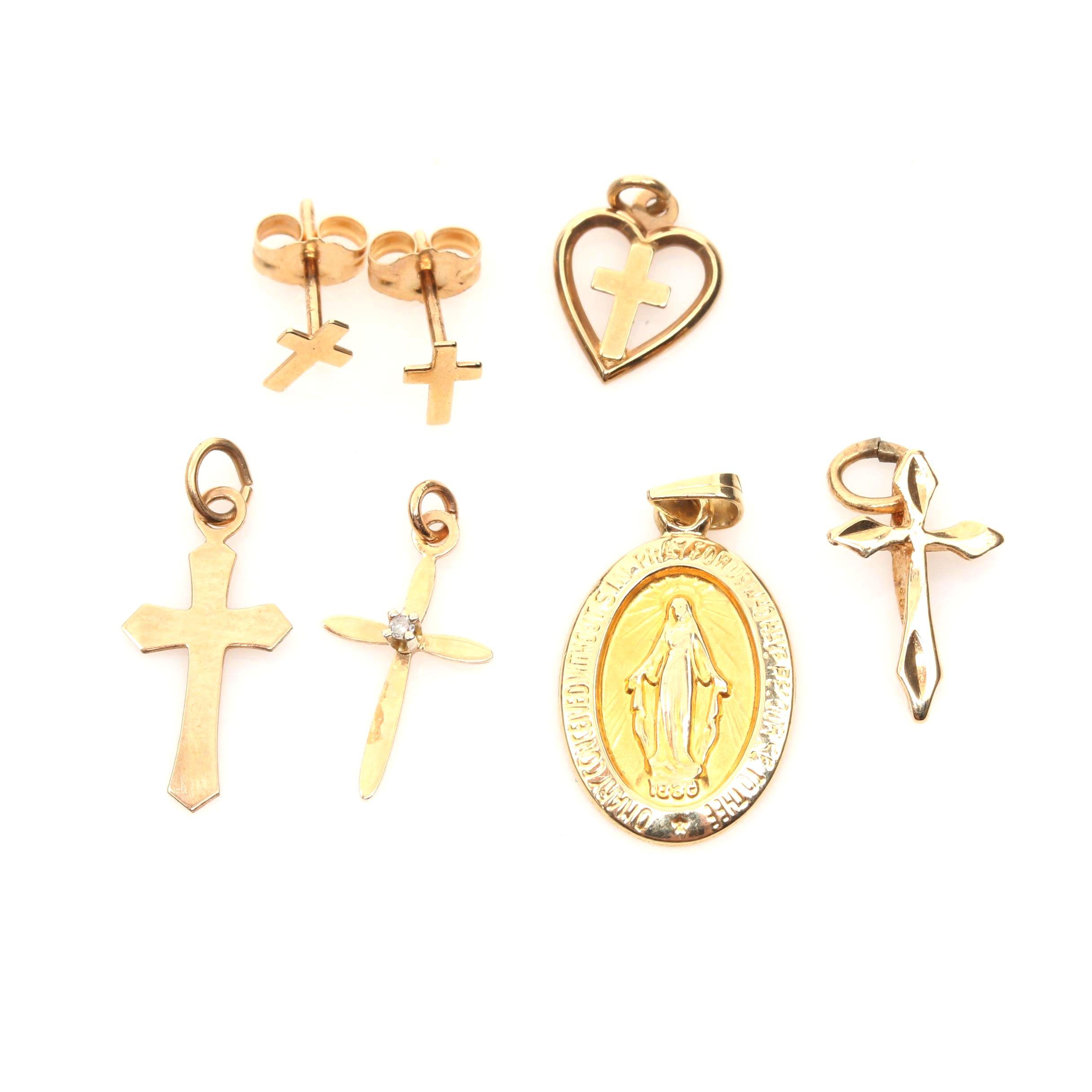 14K Yellow Gold Religious Jewelry Assortment EBTH