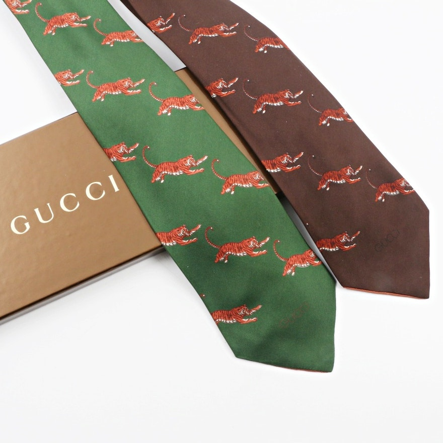 Vintage Gucci Bengal Tiger Patterned Silk Neckties