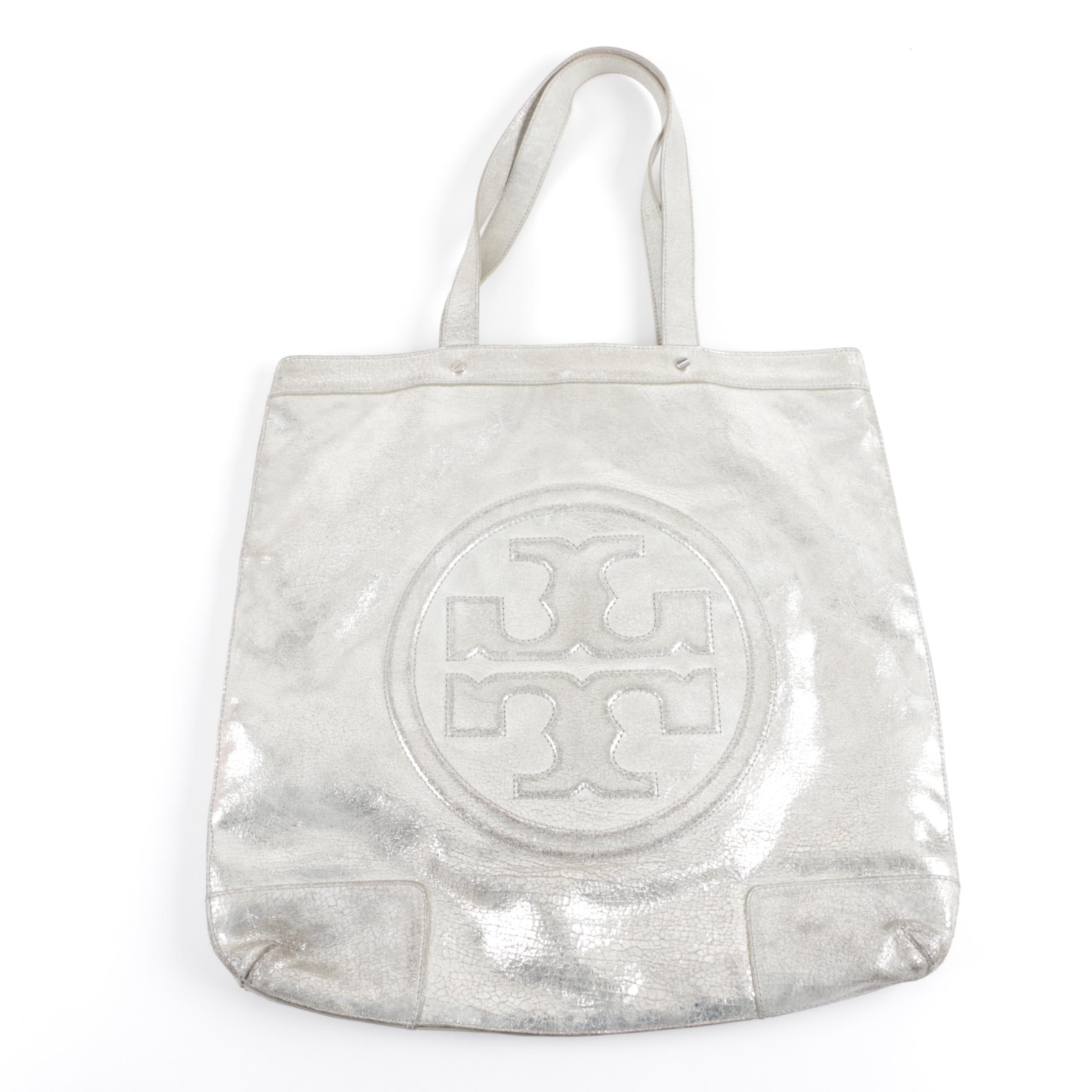 Tory Burch Metallic Silver Leather Logo Tote Handbag