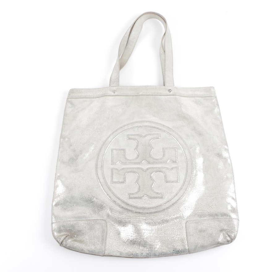 ff84cd2fe3b Tory Burch Metallic Silver Leather Logo Tote Handbag