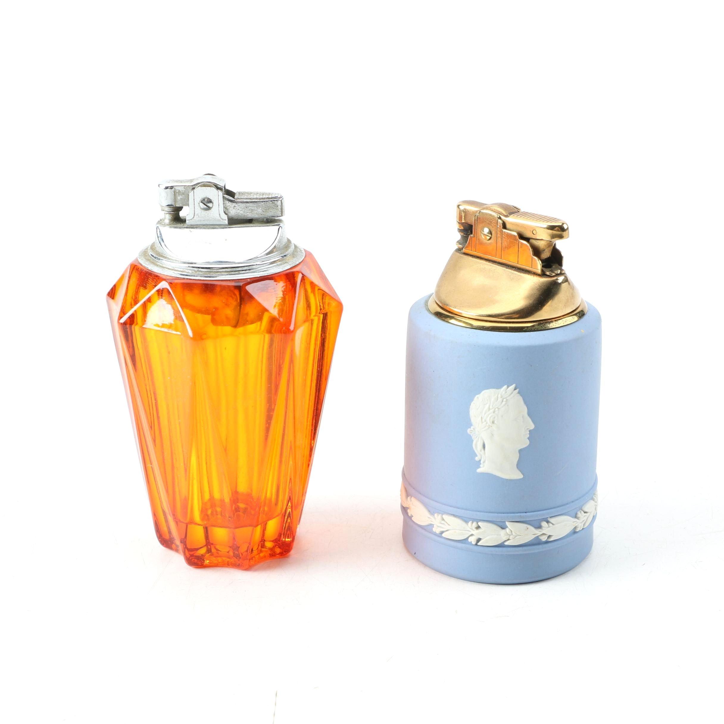 Vintage Wedgwood Jasperware and Amber Glass Table Lighters