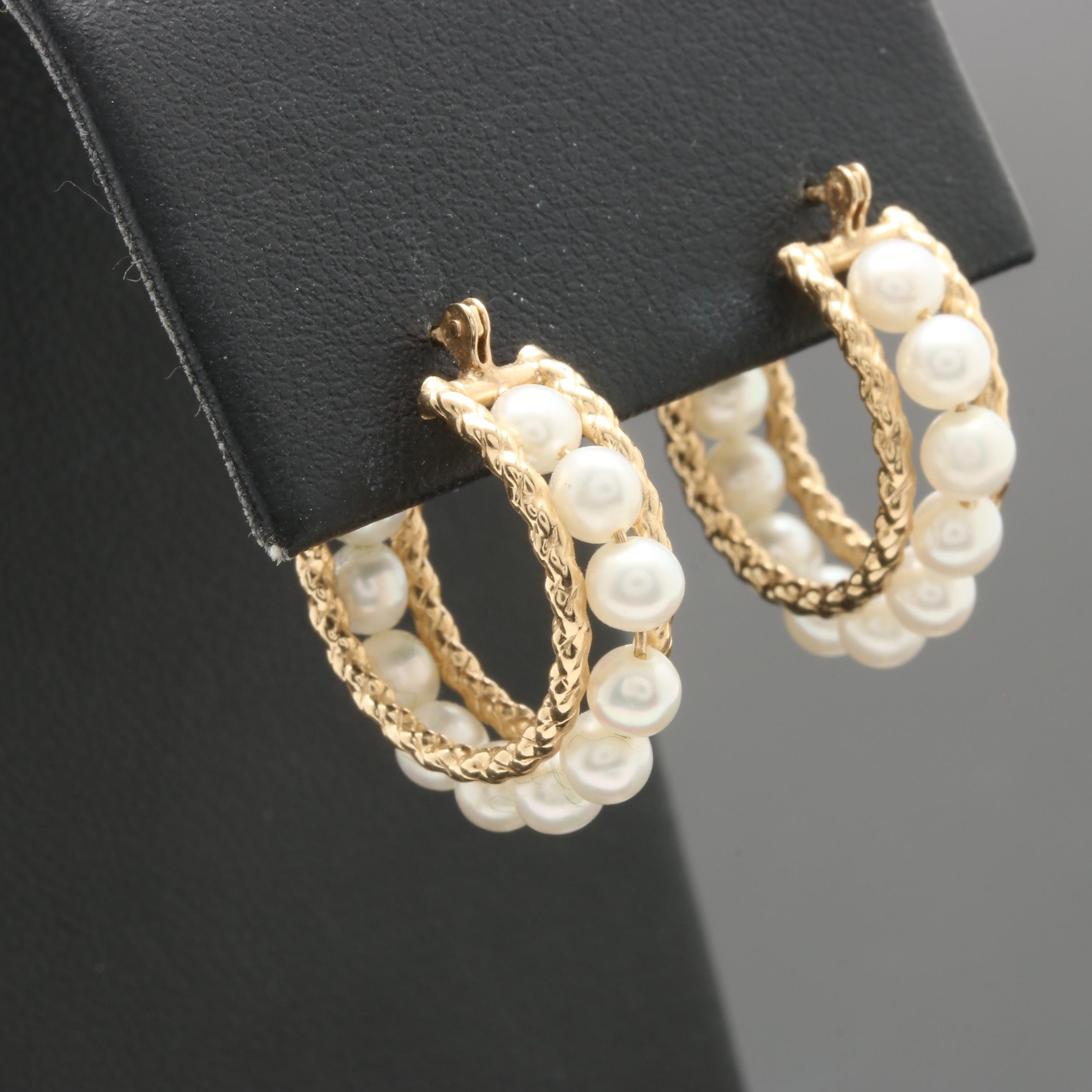 10K Yellow Gold Cultured Pearl Hoop Earrings
