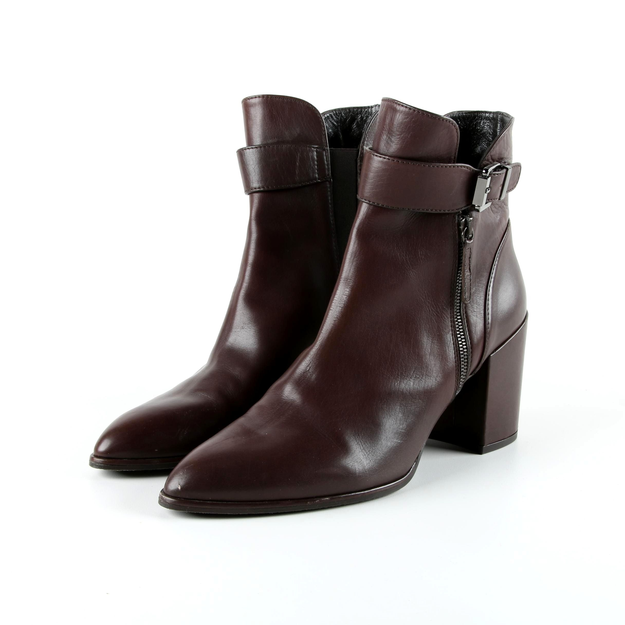 Stuart Weitzman Brown Leather Chunky Heel Ankle Boots