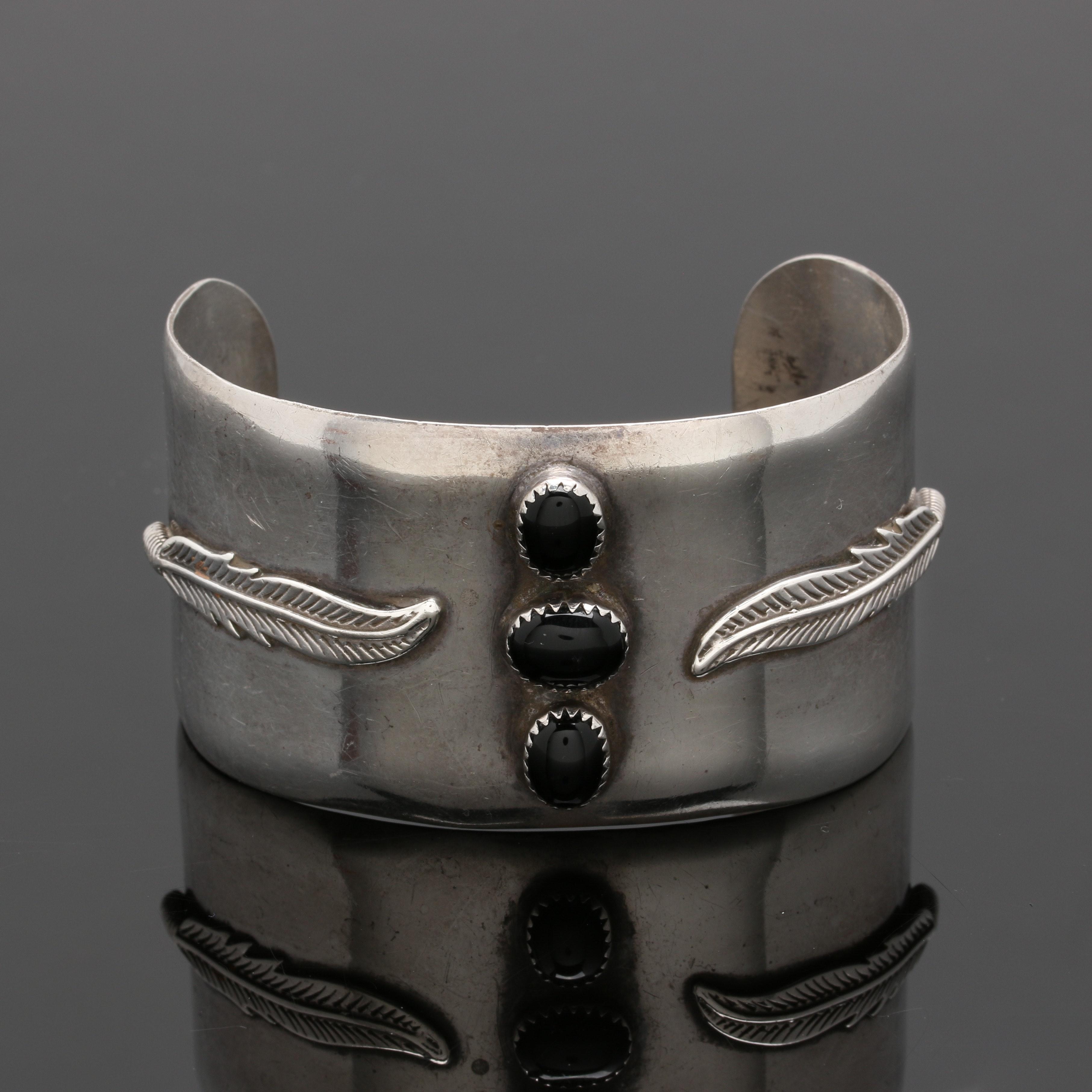 Southwestern Style Sterling Silver Black Onyx Cuff