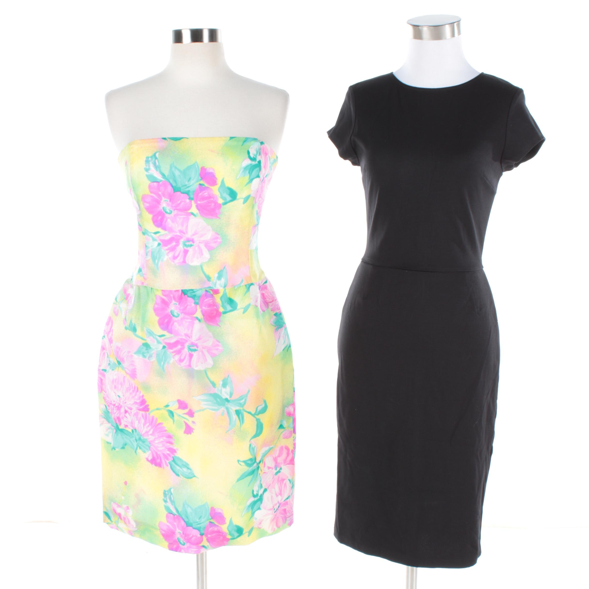 Escada Strapless Silk Cocktail Dress and Love...Ady Black Rayon Dress