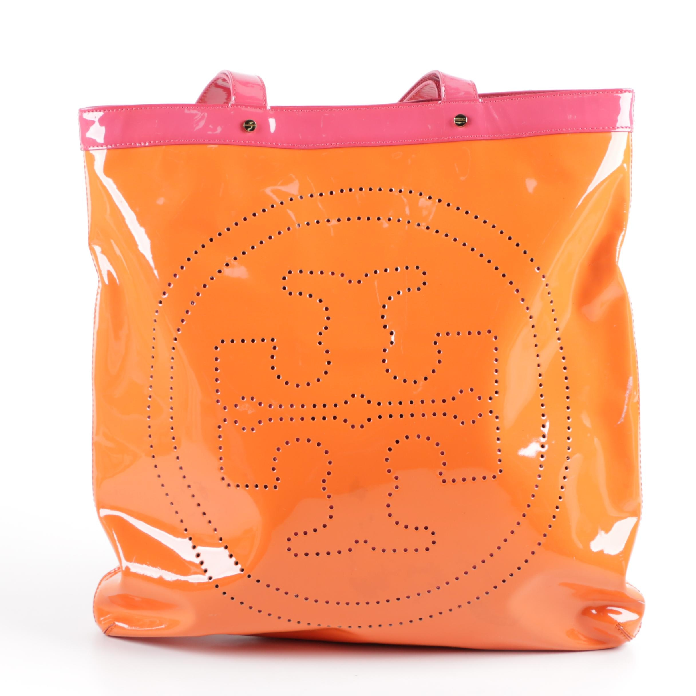 Tory Burch Orange and Pink Patent Leather Tote Bag