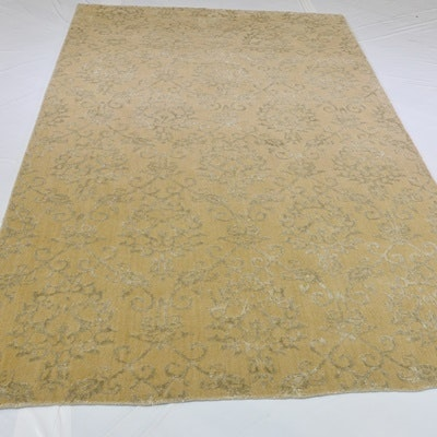 Hand Loomed Jacquard Wool and Viscose Area Rug