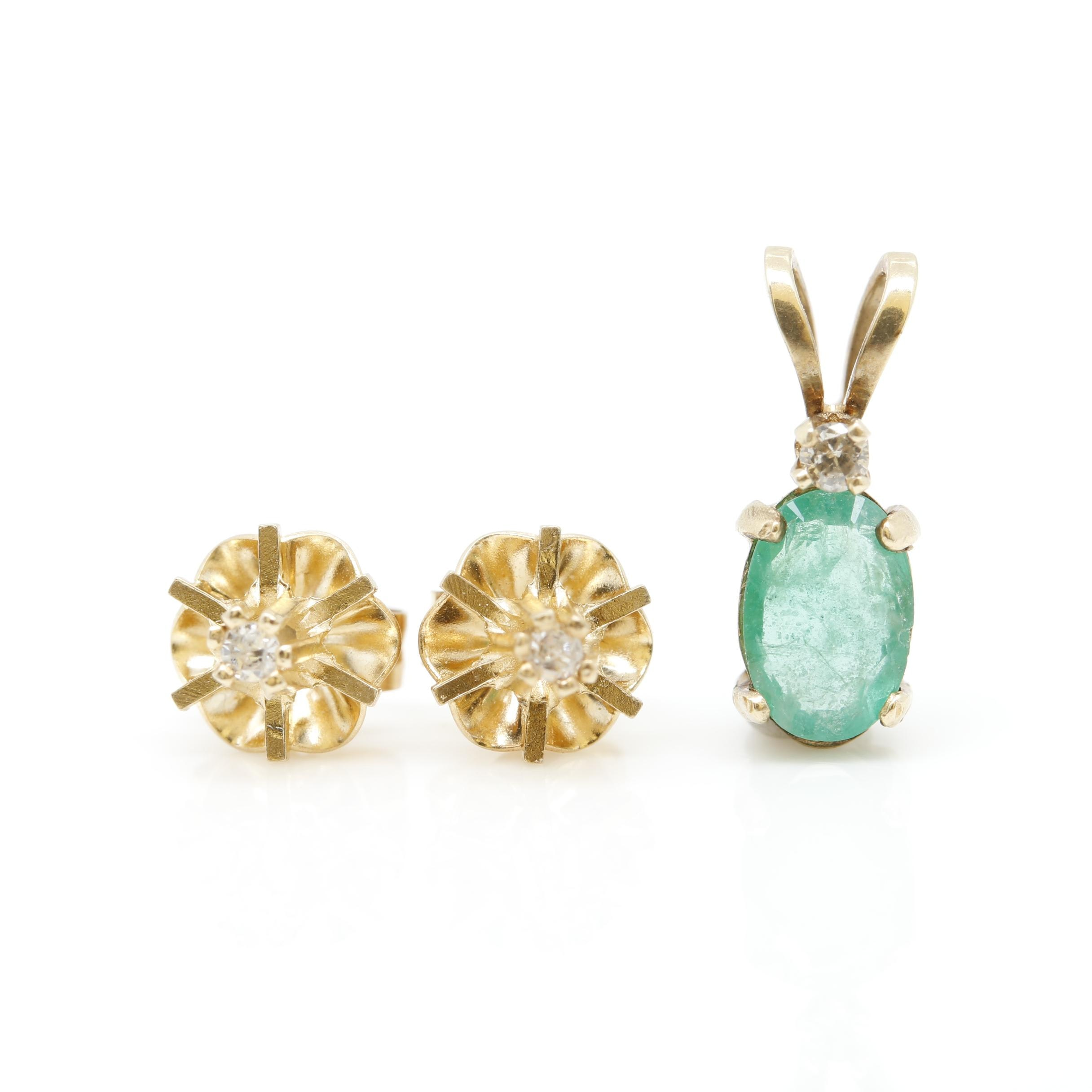 14K Yellow Gold Emerald and Diamond Pendant and Earrings