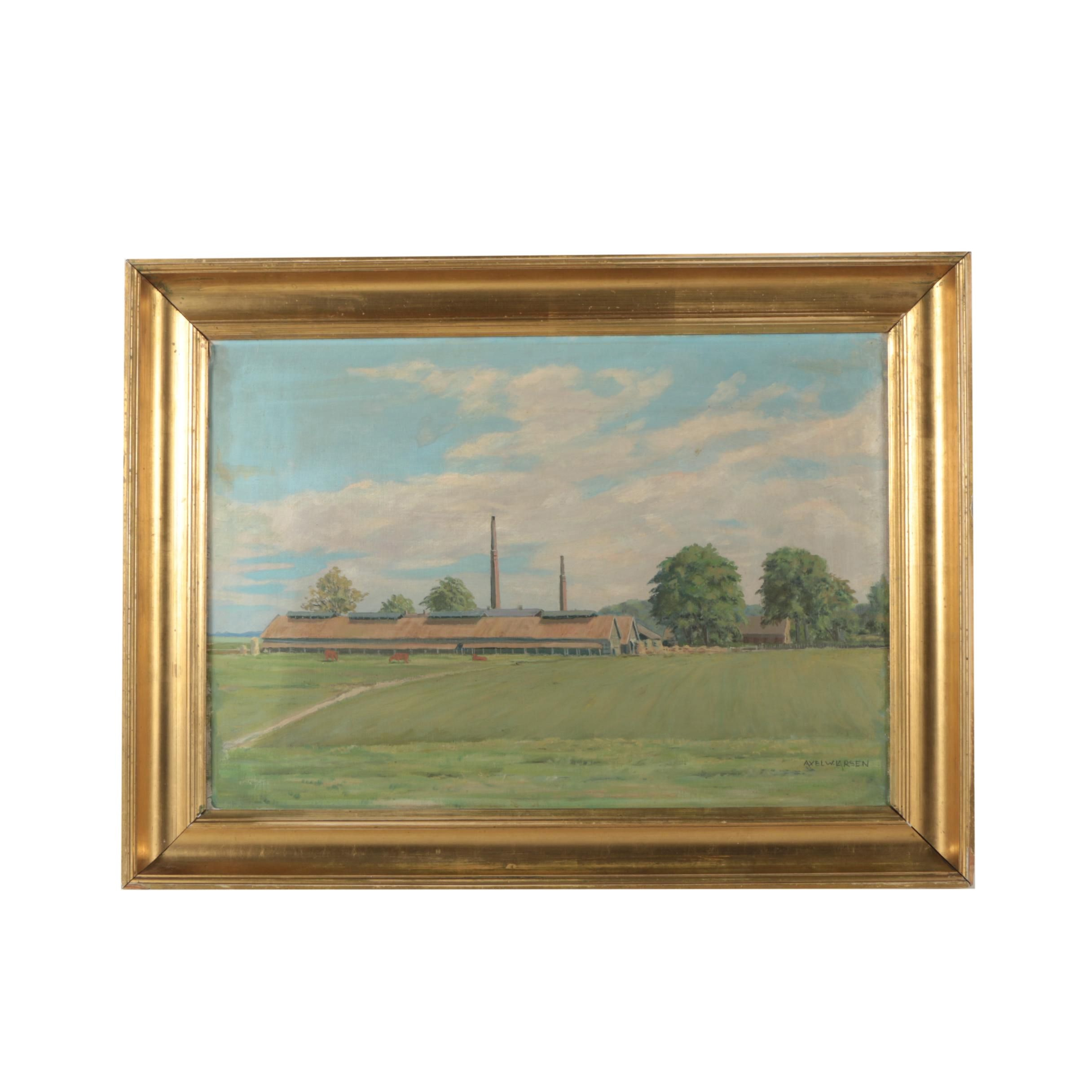Axel W. Larsen Oil Painting of Commercial Farm