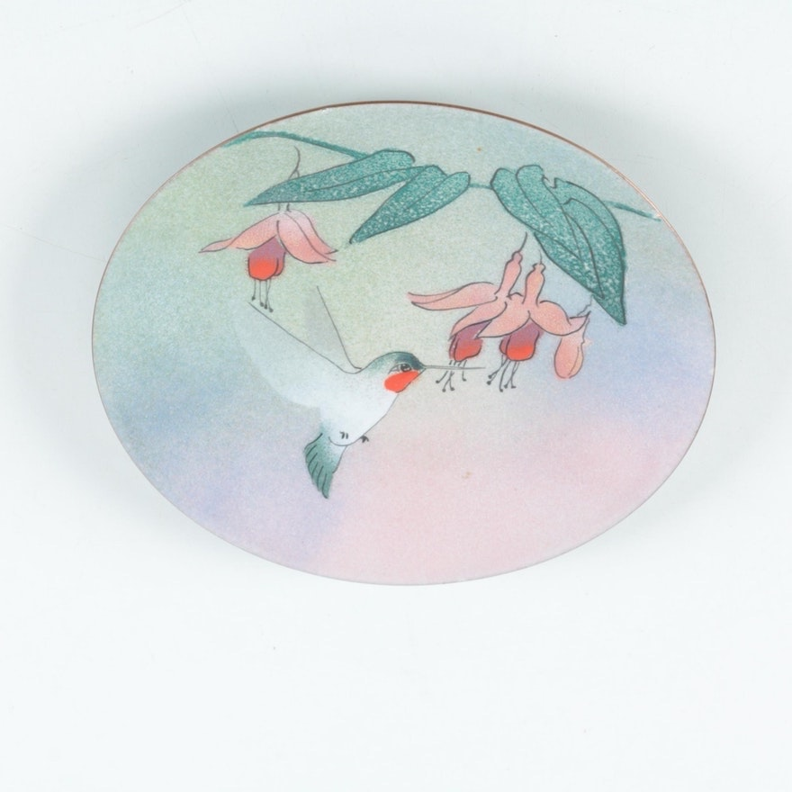 Hand-Painted Signed Brumm Hummingbird Enamel over Copper Plate