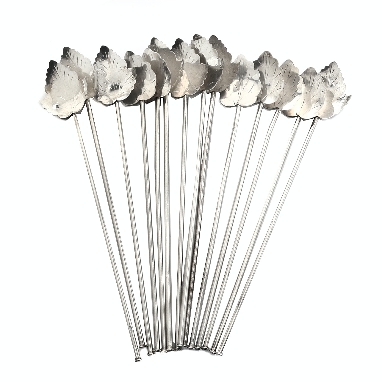 Mexican Sterling Silver Leaf Iced Tea Stirrers/Straws