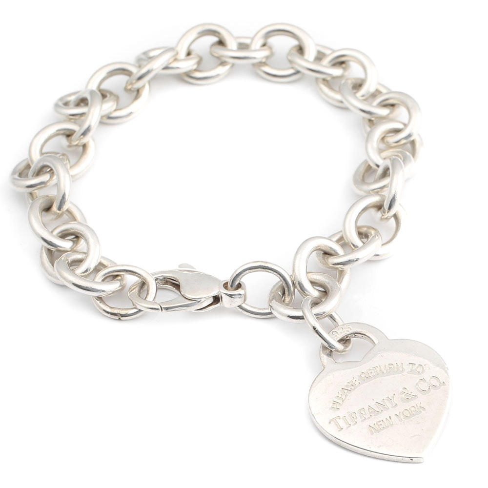 Tiffany & Co. Sterling Silver Cable Bracelet with Heart Charm