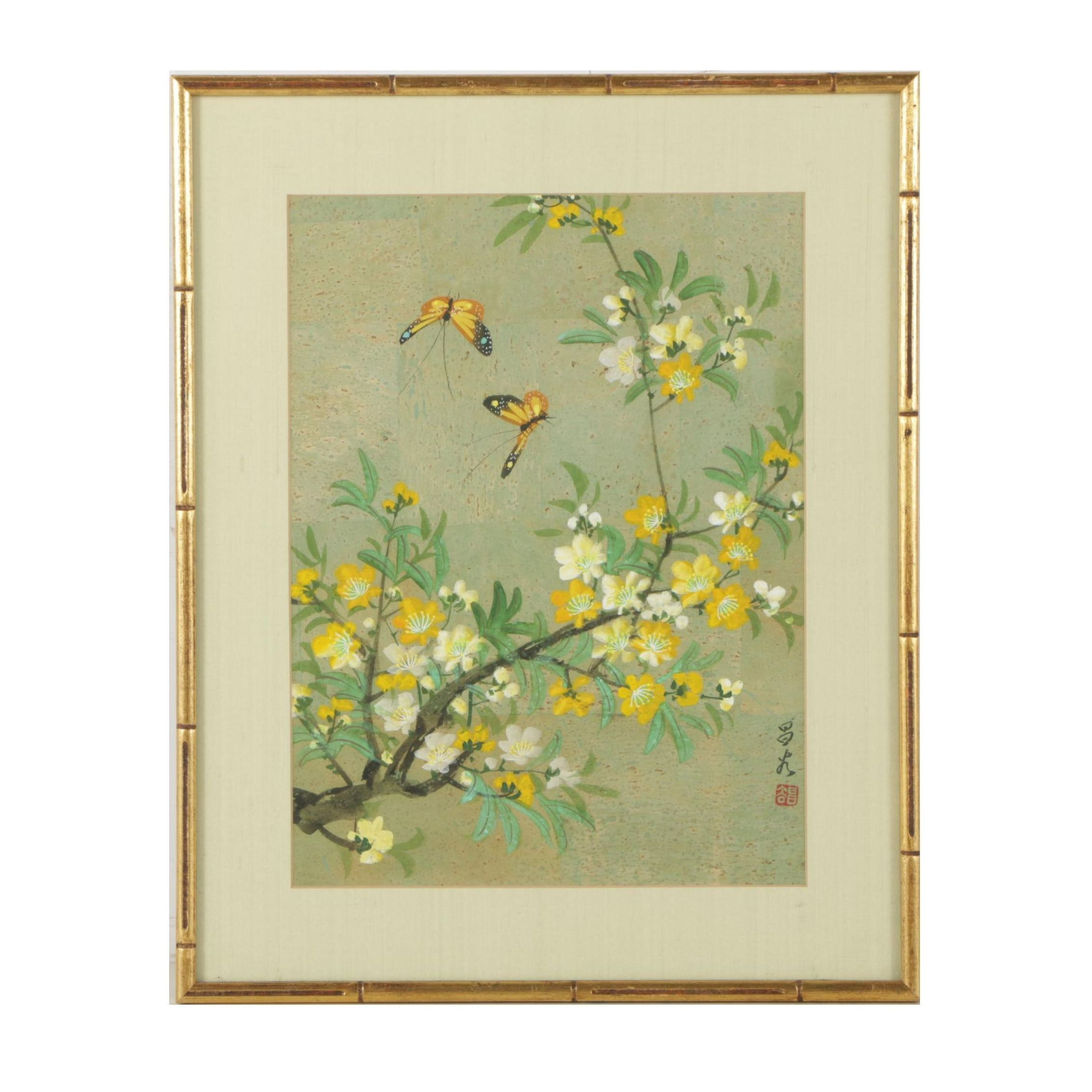 Chinese Gouache Painting of Butterflies and Flowering Tree
