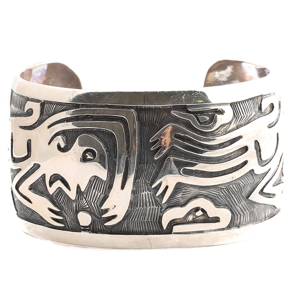 Sterling Silver Cuff Bracelet with Aztec Motif