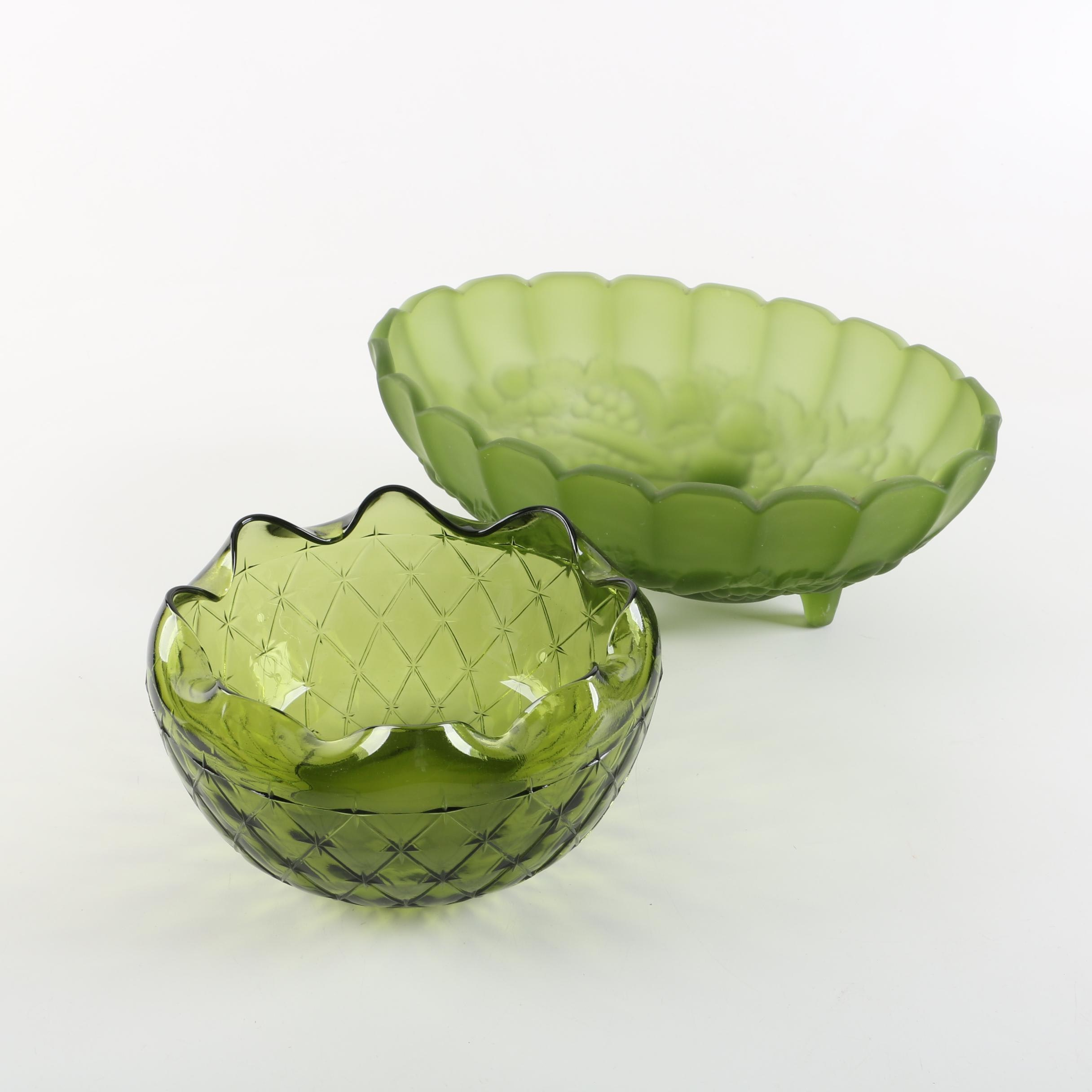"""Vintage Indiana Glass """"Harvest Grape"""" and """"Duette"""" Bowls"""