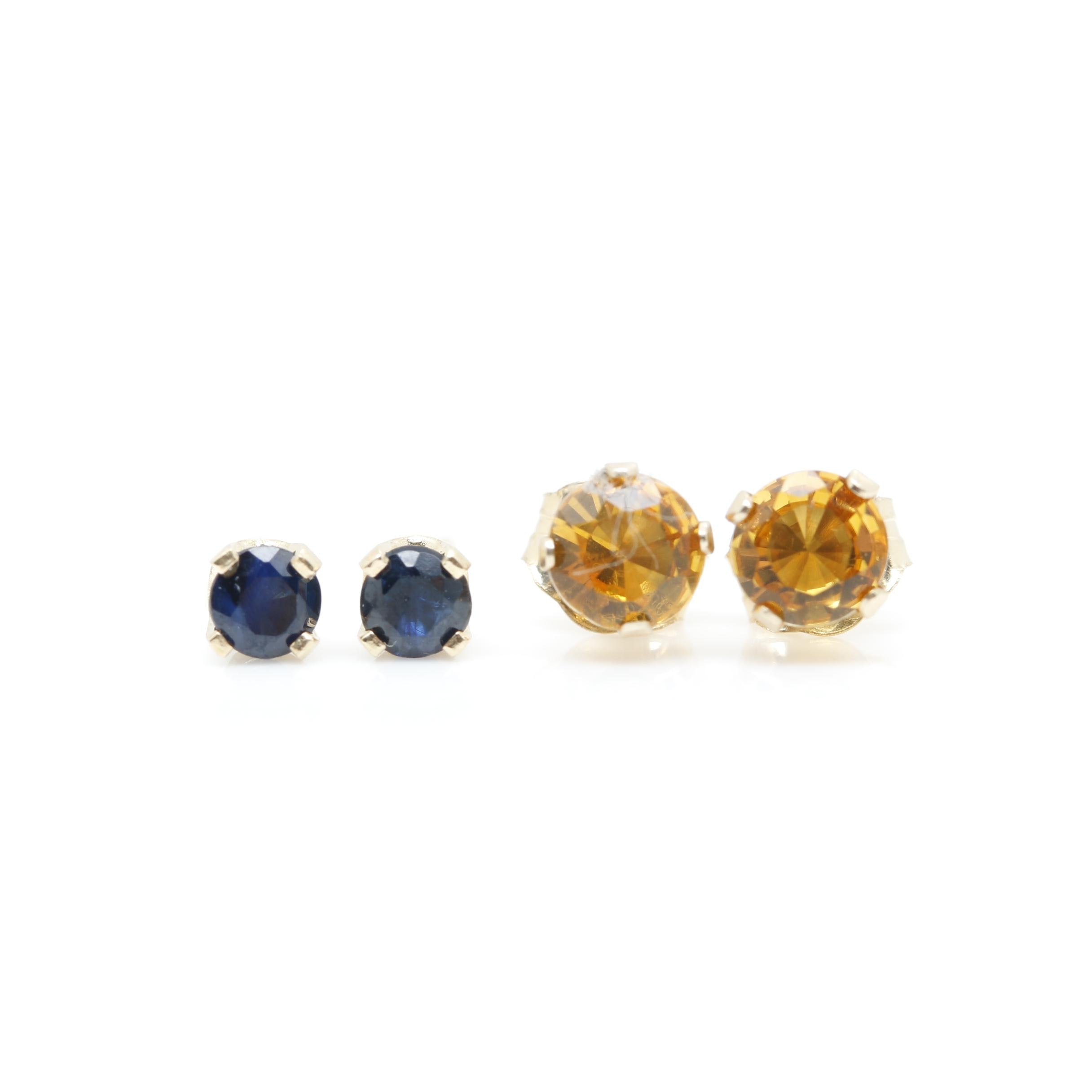 14K Yellow Gold Sapphire and Citrine Stud Earrings