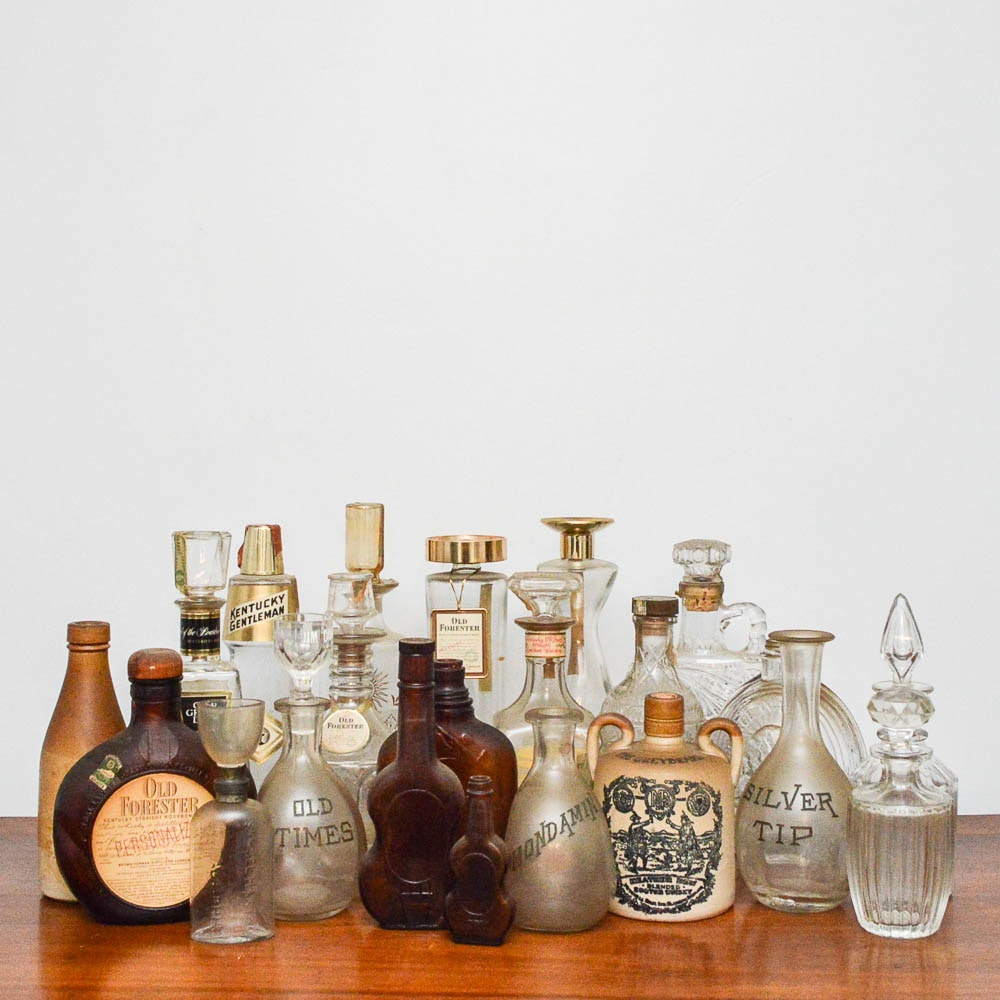 Vintage Old Forester and Other Liquor Bottles and Decanters
