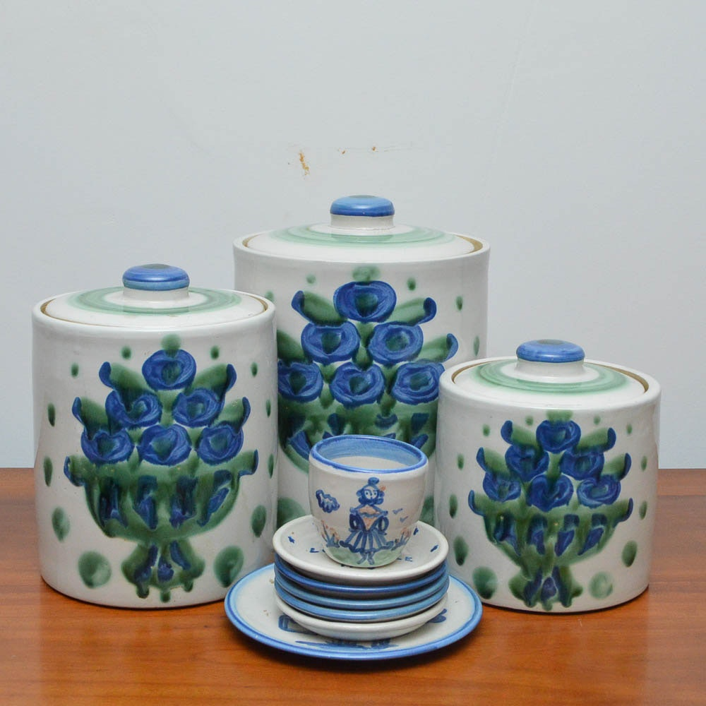 M.A Hadley Stoneware Canisters and Tableware