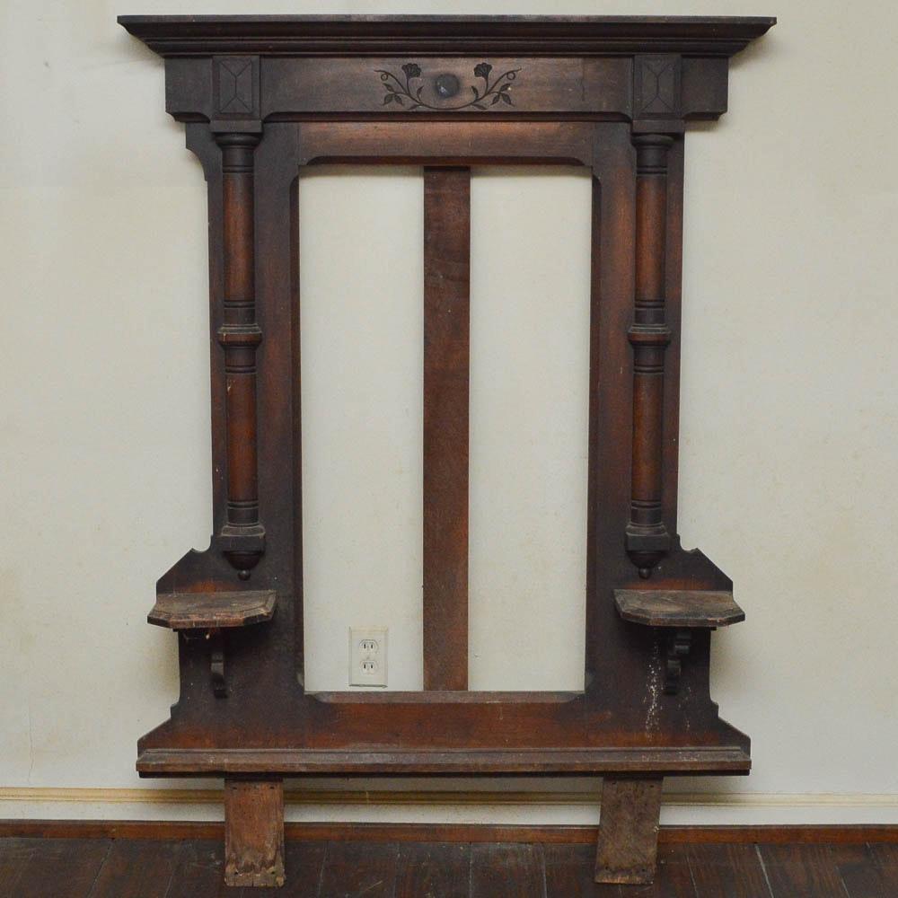 Antique Victorian Eastlake Walnut Dresser Mirror Frame