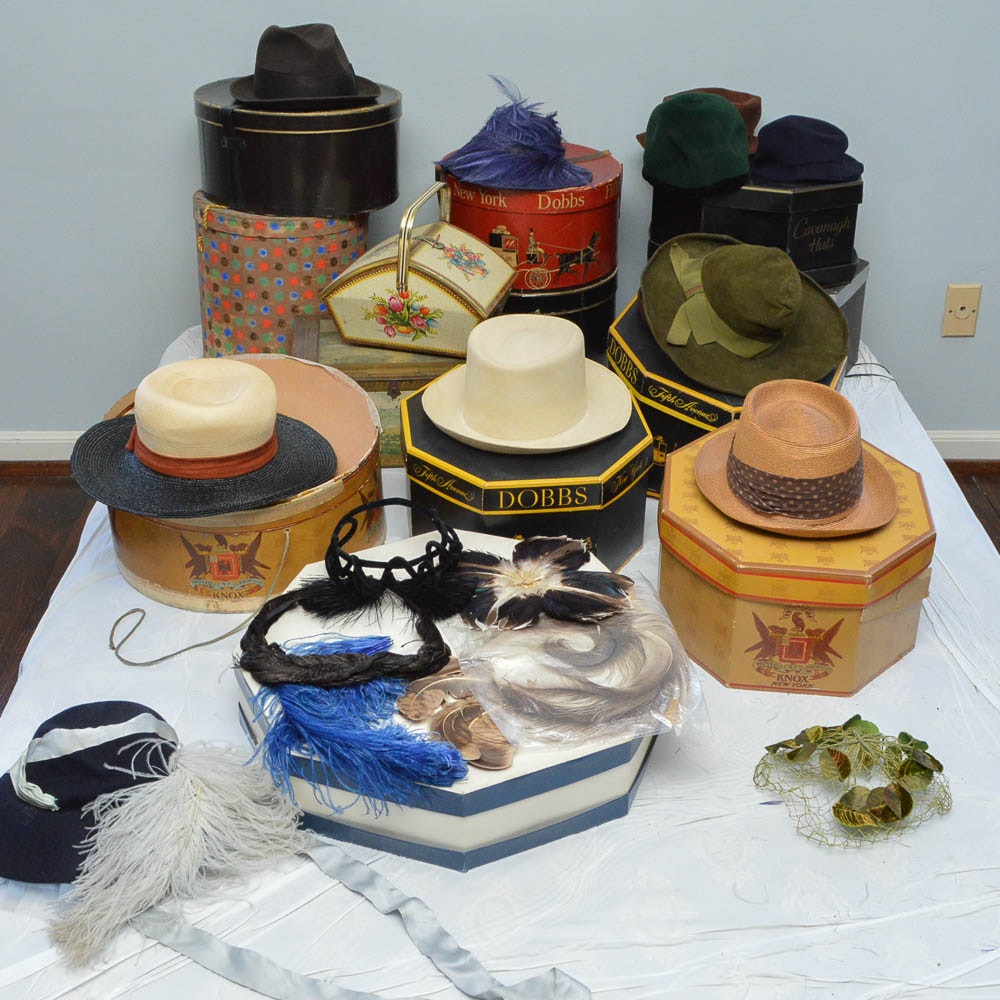 Vintage Hats and Boxes Including Cavanagh Whipcord and Churchill Ltd. Beaver Fur
