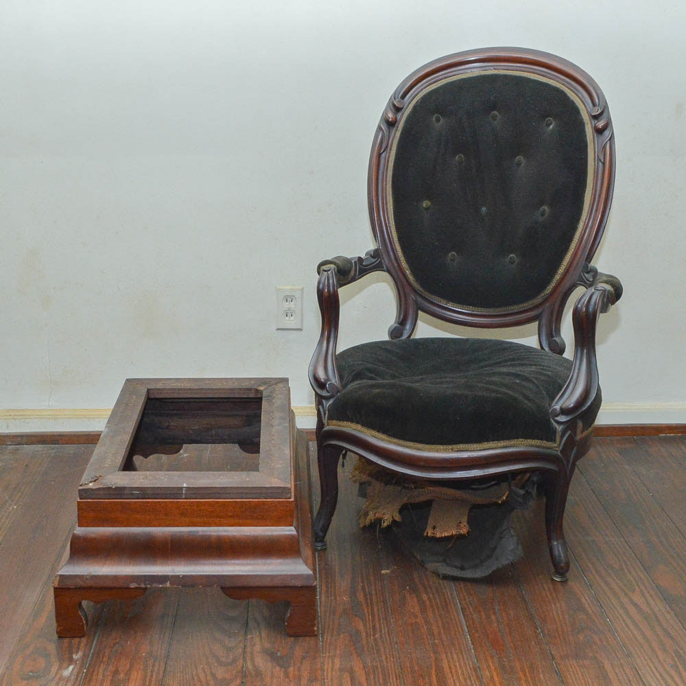 Antique Victorian Armchair and Footstool Frame