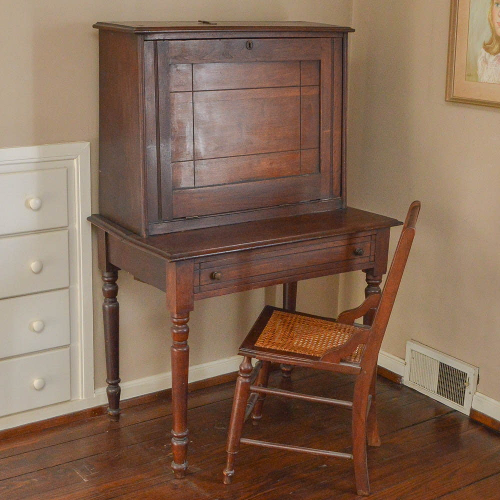 "Antique Walnut ""Plantation"" Desk with Chair"